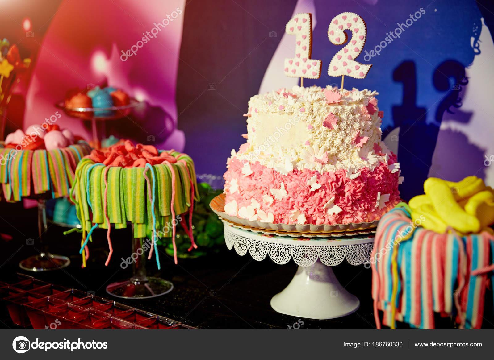 Birthday Cake Fireworks Birthday Celebration Stock Photo