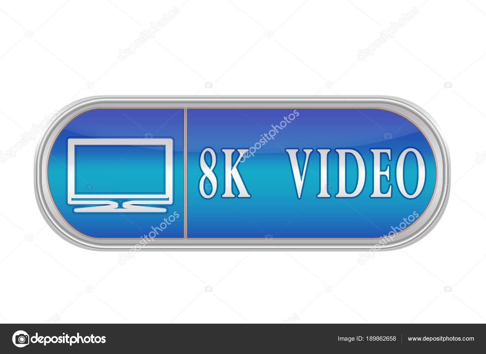 """voluminous blue button with the pictogram and the words """"8k vi"""