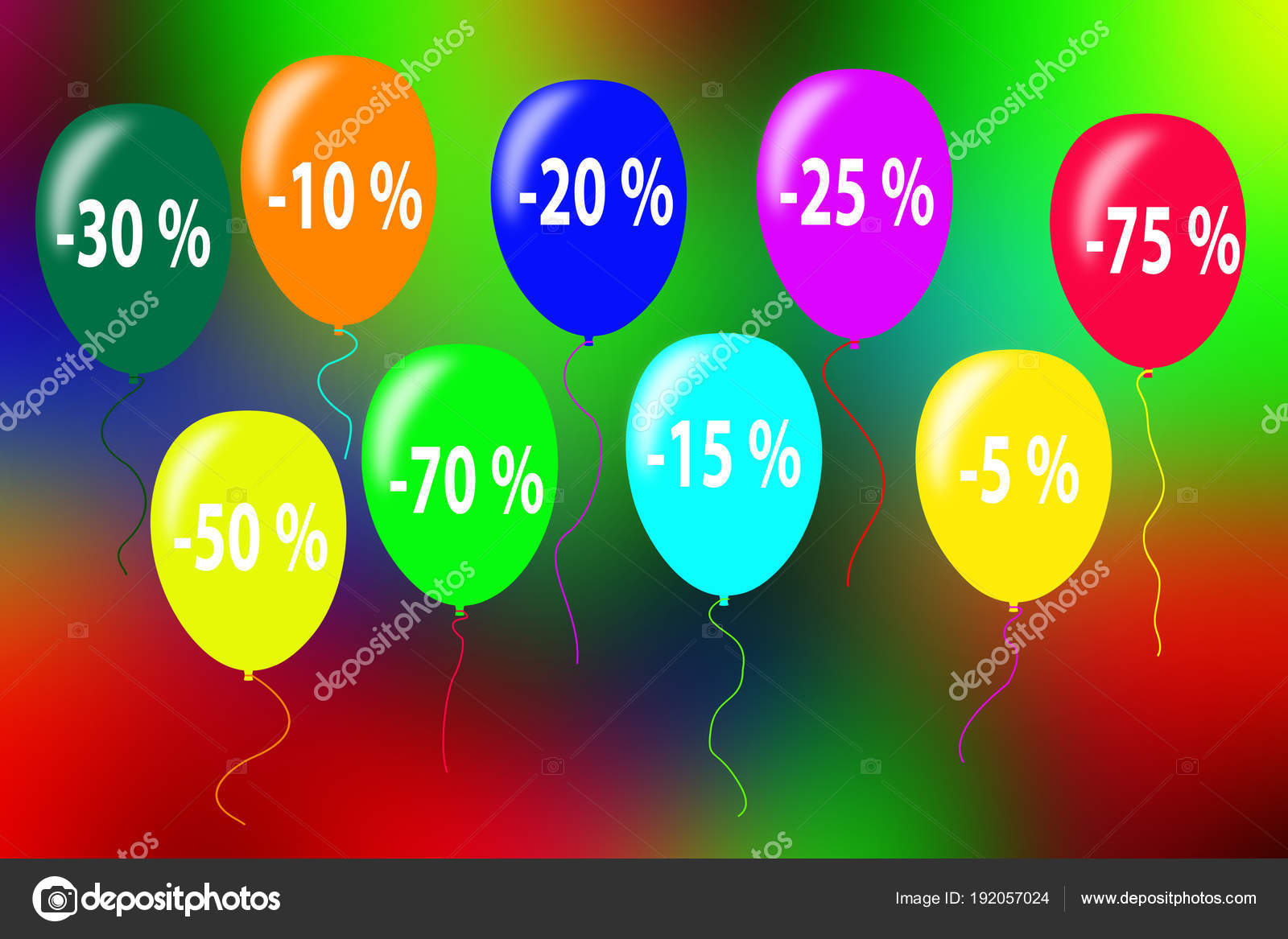 On multi-colored balloons marked numbers with the size of discou ...