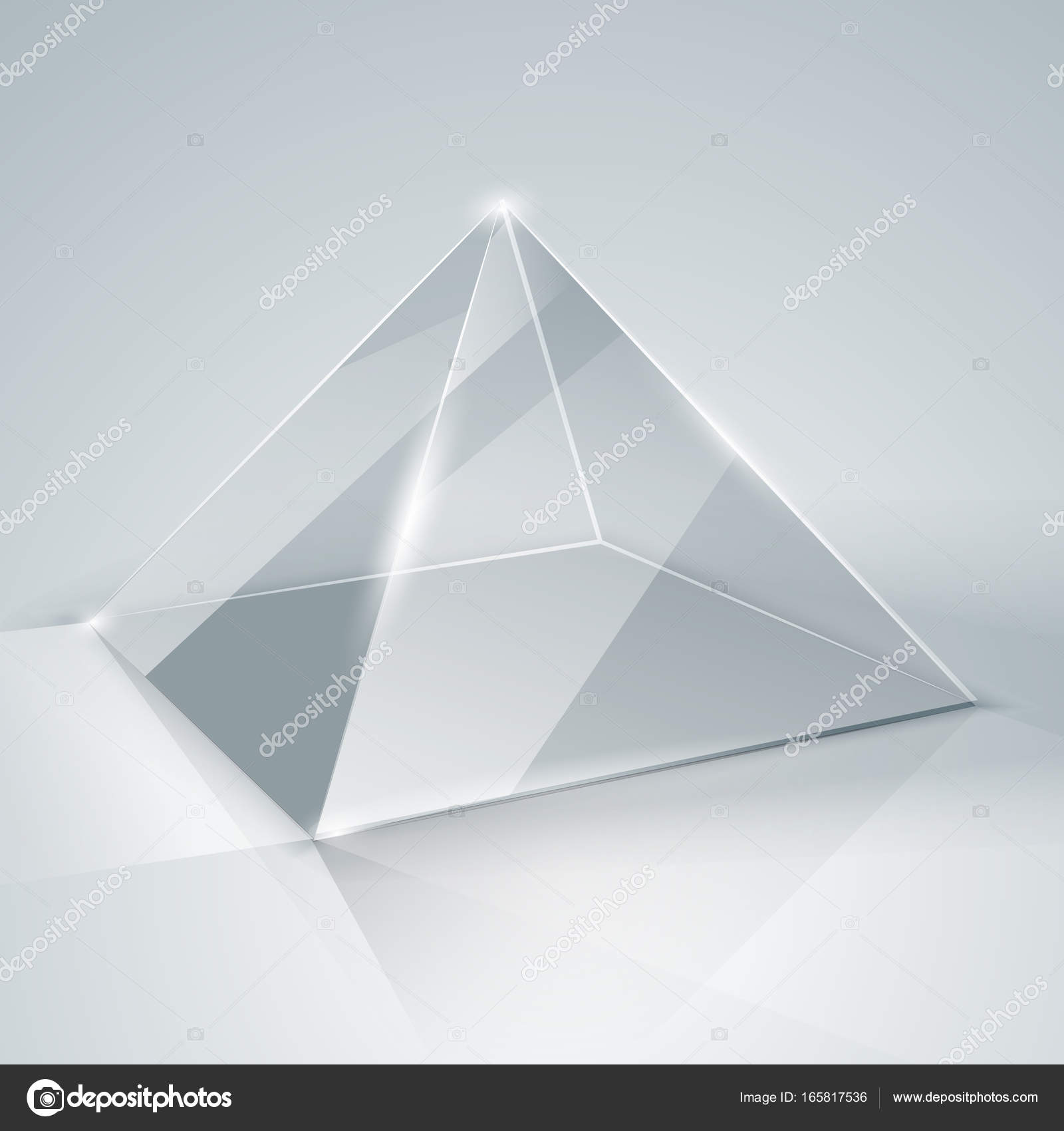 Glass pyramid. Transparent pyramid. Isolated. — Stock Vector ...