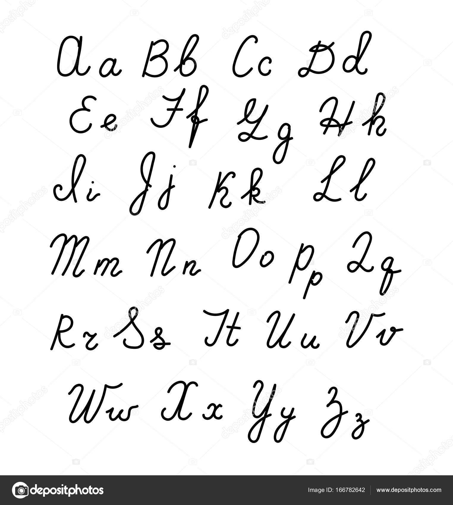 Hand Drawn Fonts Handwritten Alphabe Style Modern Calligraphy Stock Vector