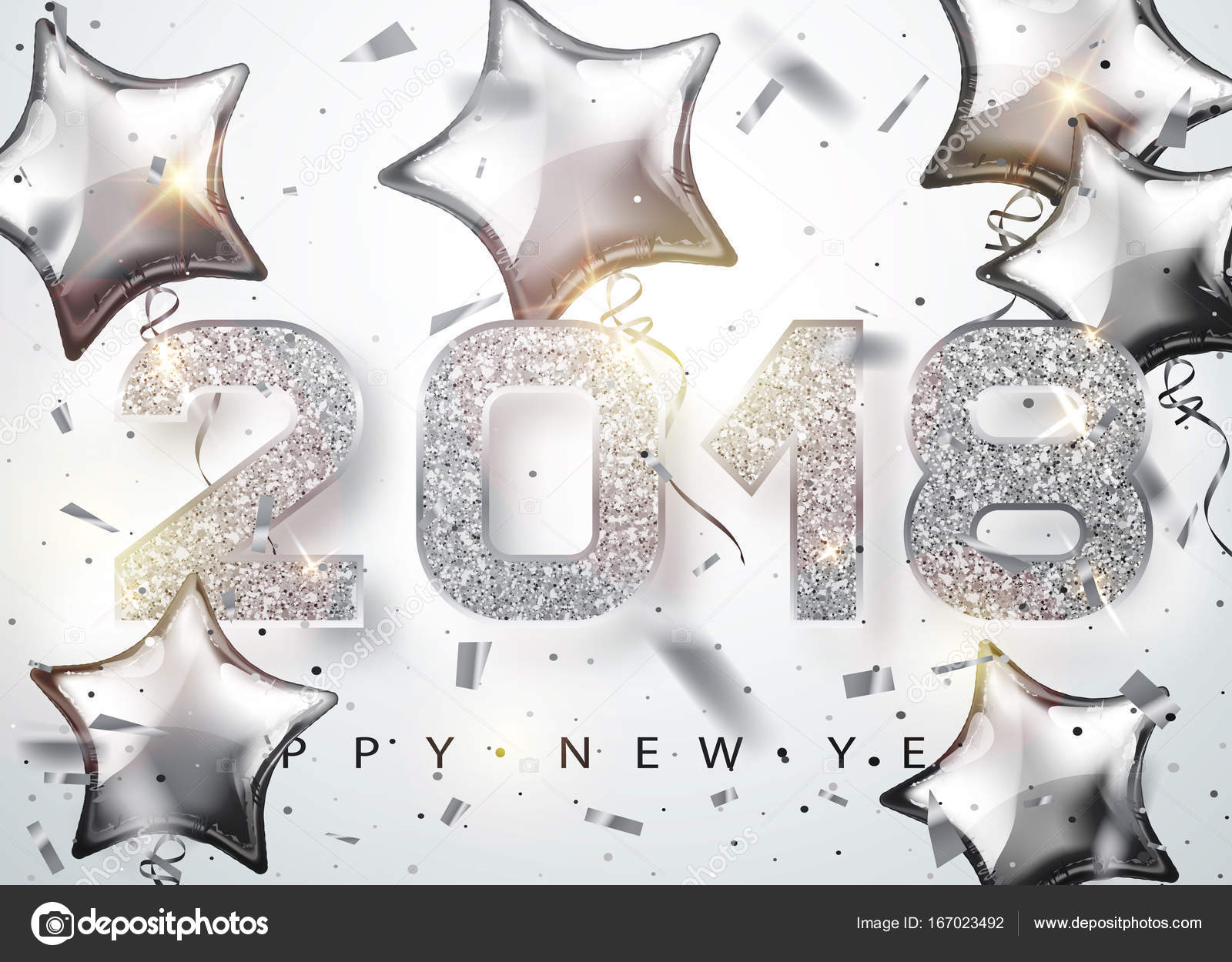 2018 happy new year silver numbers design with star shaped balloons of greeting card