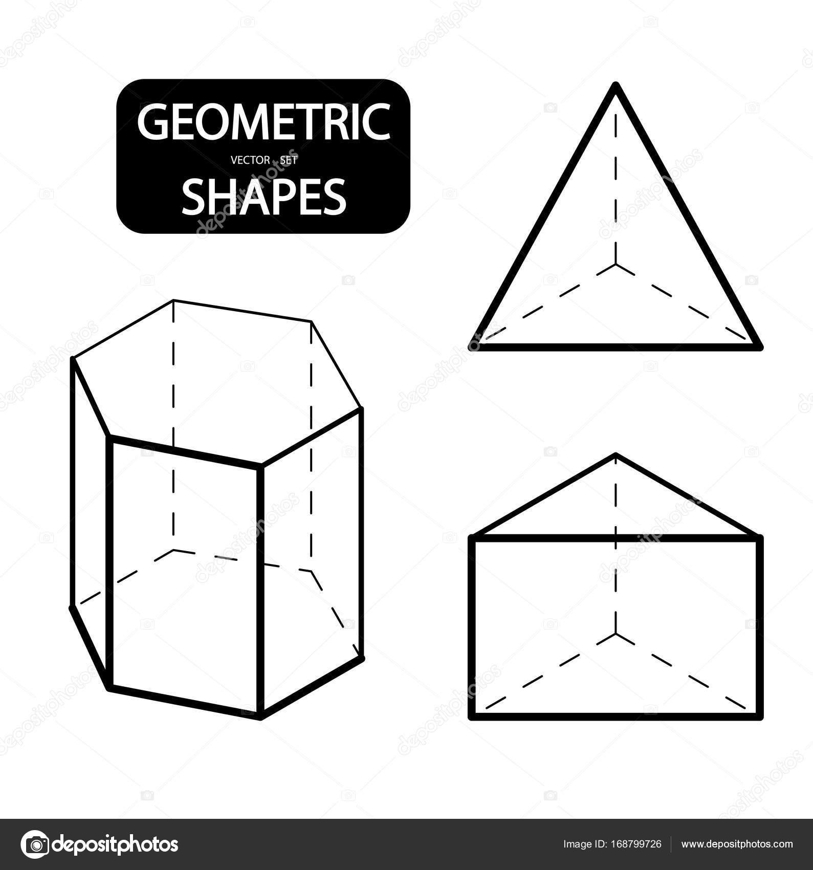 Set of 3D geometric shapes  Isometric views  The science of geometry