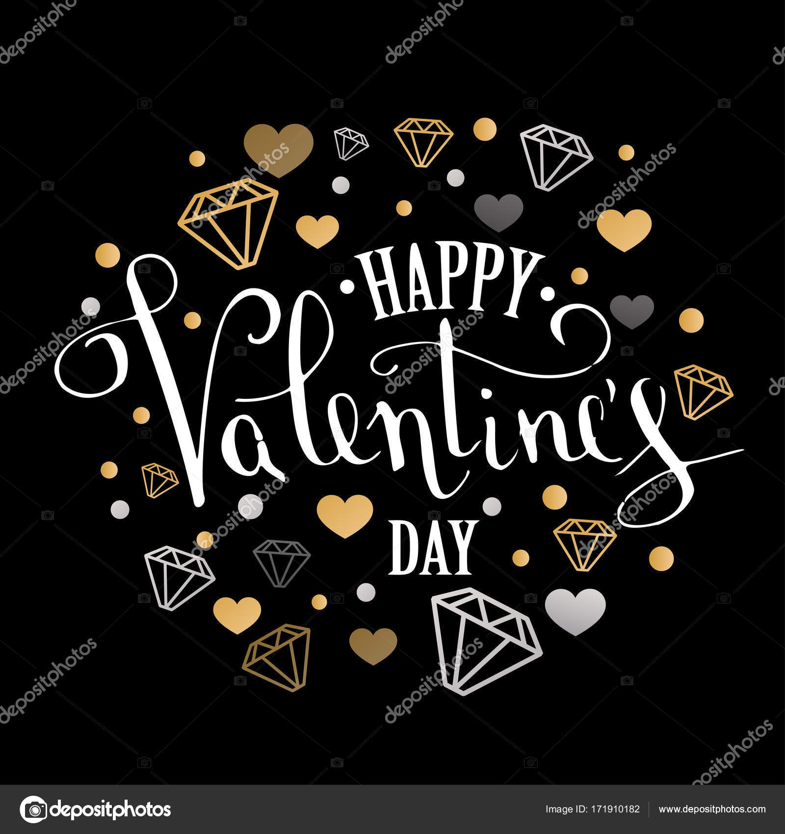 Valentines day greeting card with geometric form diamond valentines day greeting card with geometric form diamond calligraphic pen inscription on a black background kristyandbryce Images