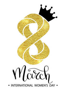 8 March gold glitter for Women Day greeting card and luxury text lettering on a white background. Woman Day concept design. Calligraphic pen inscription. Vector illustration EPS 10.