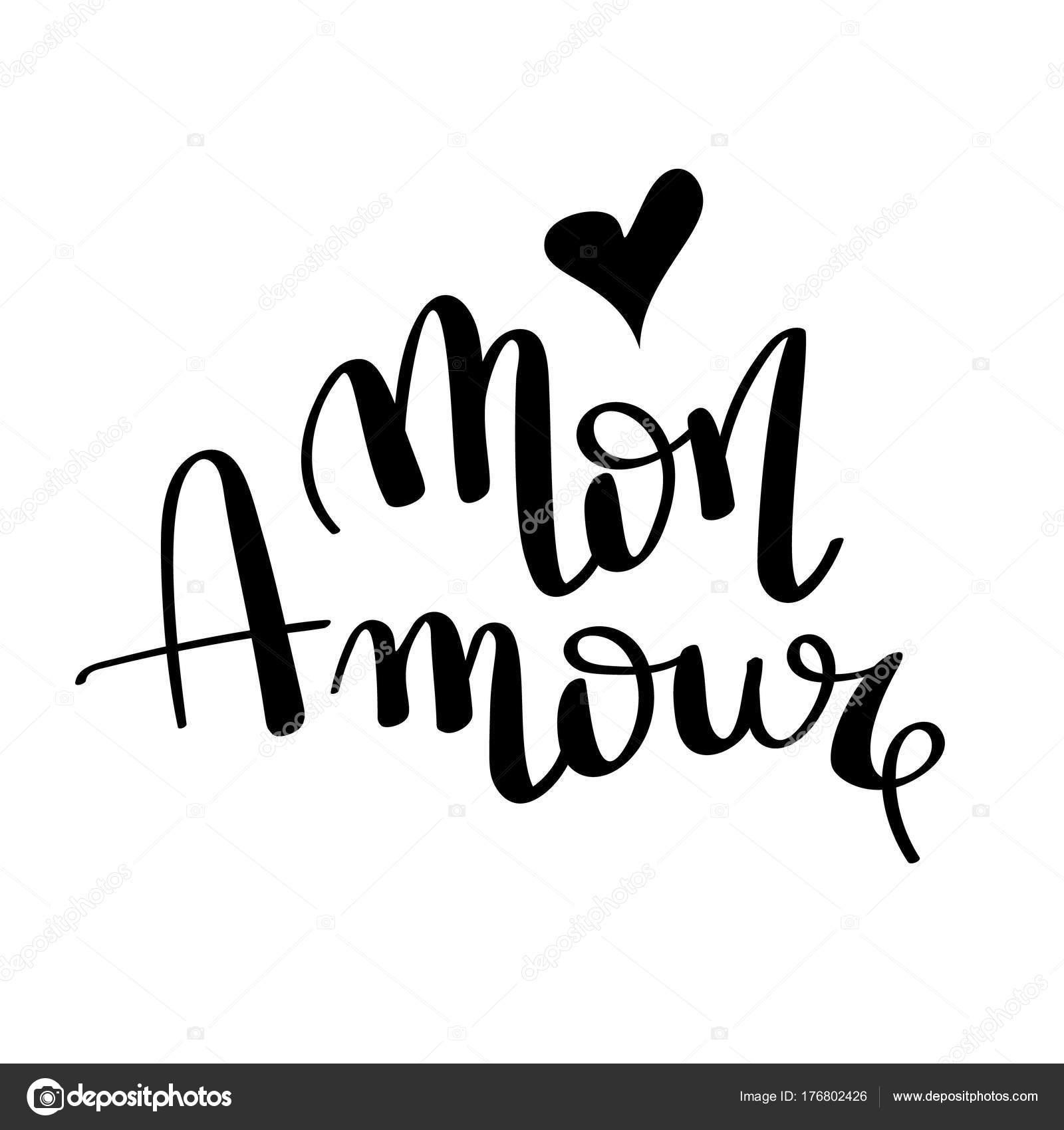 Ilustración De Mon Amour Dibujados A Mano Cita Romántica