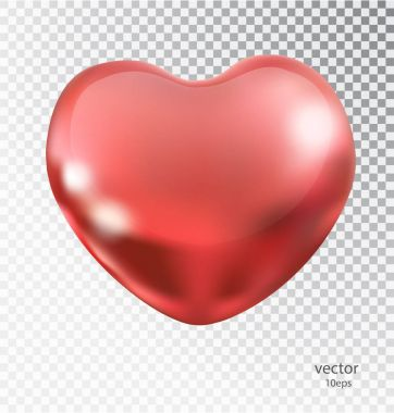 Red heart made of metal with a transparent background. Lacquered shiny element romantic mood design. Realistic 3D vector object 10 eps