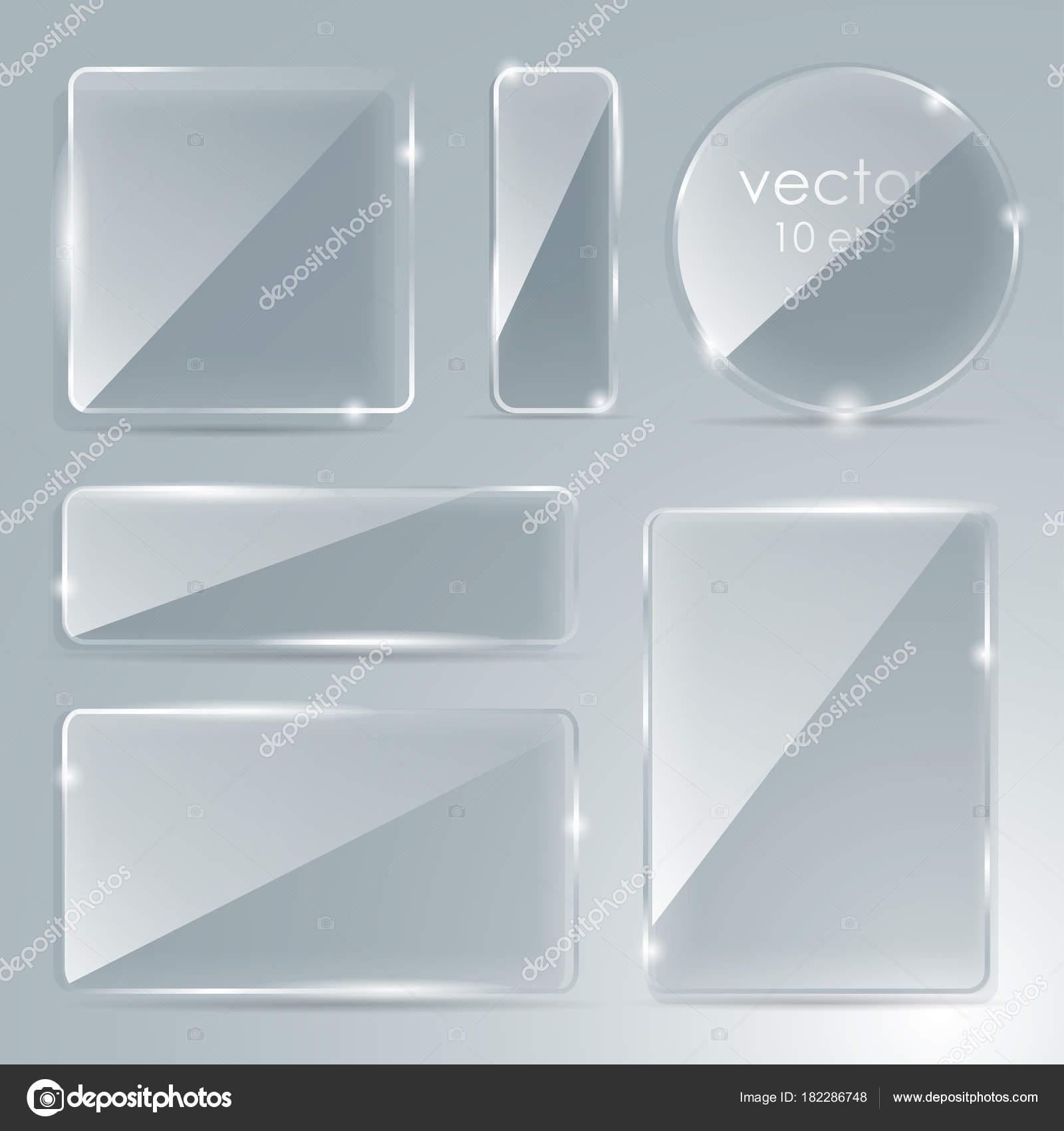 Festlegen Sie Glasplatte mit einem Platz für Beschriftungen. Vektor ...