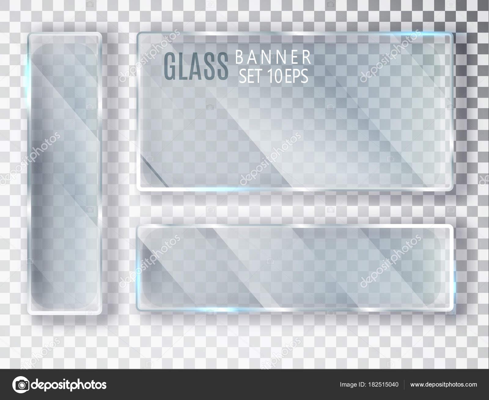 transparente banderas conjunto. Placas de vidrio de vector con un ...