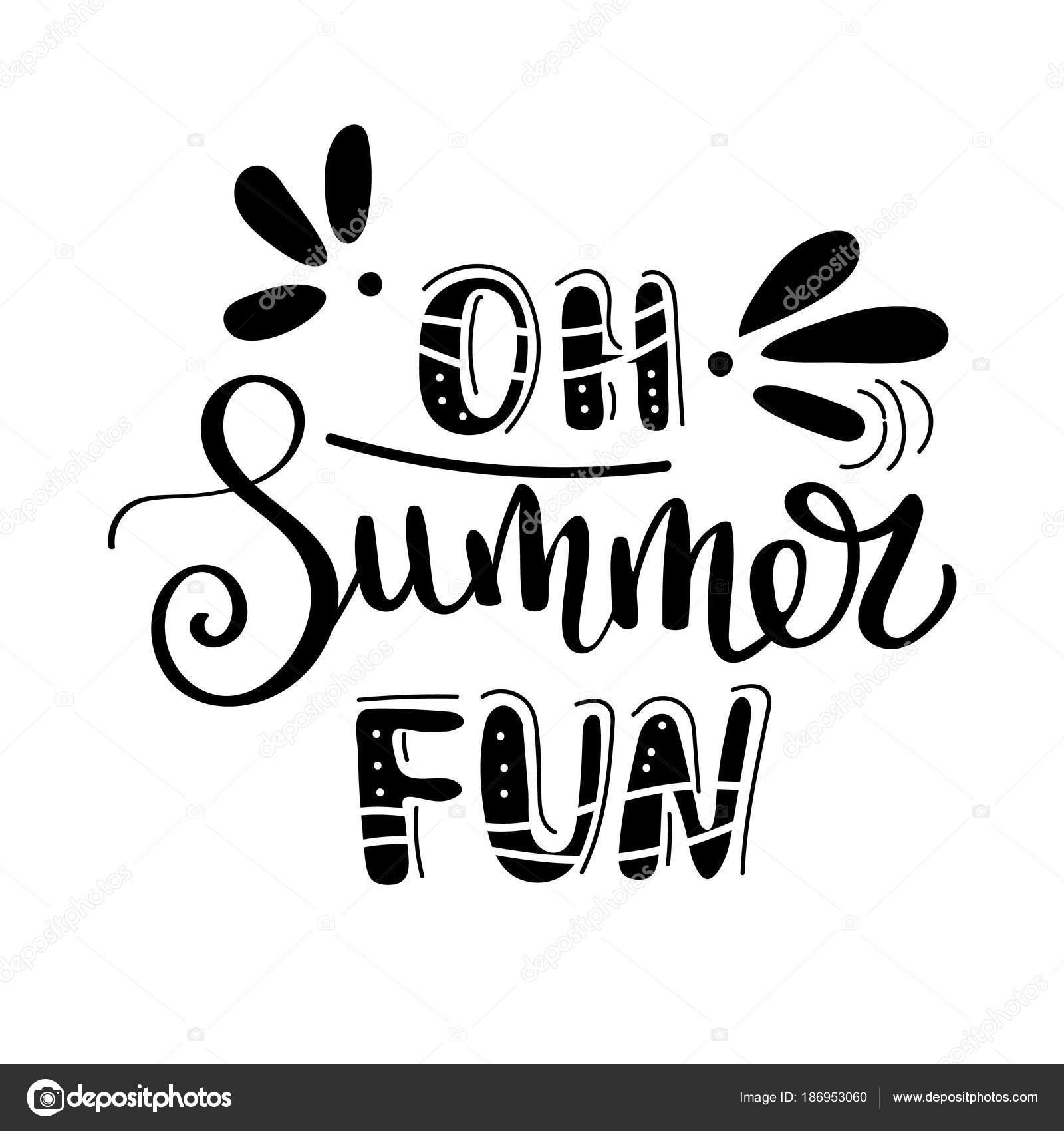 Oh Summer Fan Quote Handwritten For Holiday Greeting Cards Hand Drawn Illustration Lettering