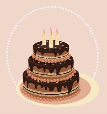 Chocolate tiered cake. Cake with candles. Vector card. Festive cakes. Kiev cake. wedding cake, vanilla cake, celebration, congratulations