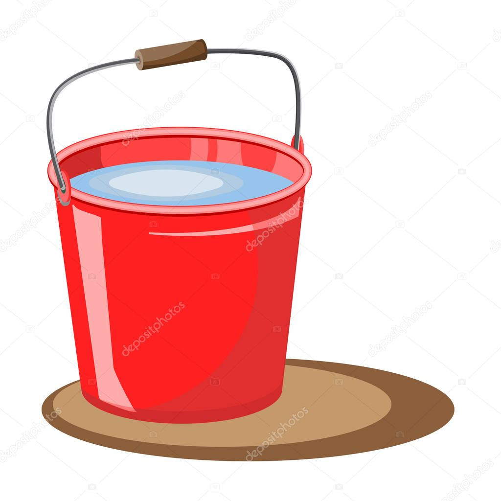 Red bucket of water. Vector illustration. Fire bucket. extinguish. A bucket of water for the garden. Design element for the garden.Bucket for harvest. Garden elements.