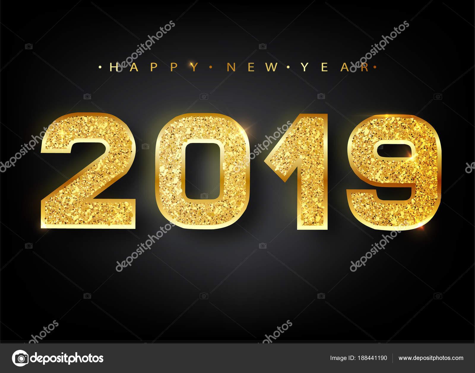 Buon Anno 2019 Disegno Di Numeri Dell Oro Della Cartolina D