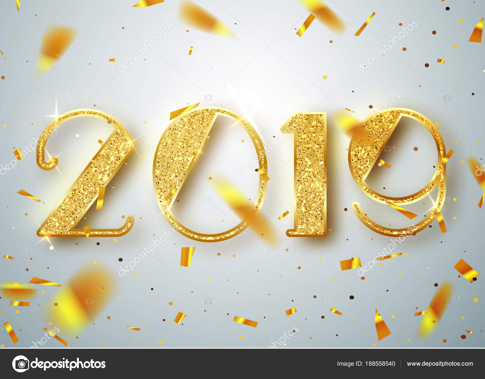 2019 happy new year gold numbers design of greeting card of gold numbers design of greeting card of falling shiny confetti kristyandbryce Choice Image