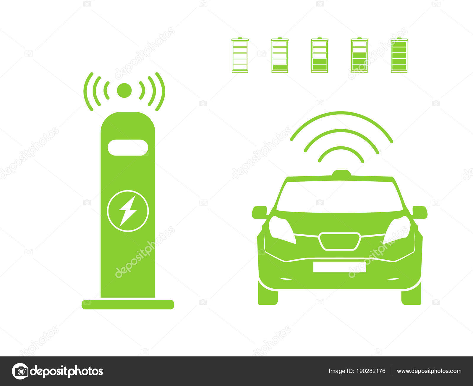 Draadloze Auto Opladen Station Symbool Elektrische Auto Opladen