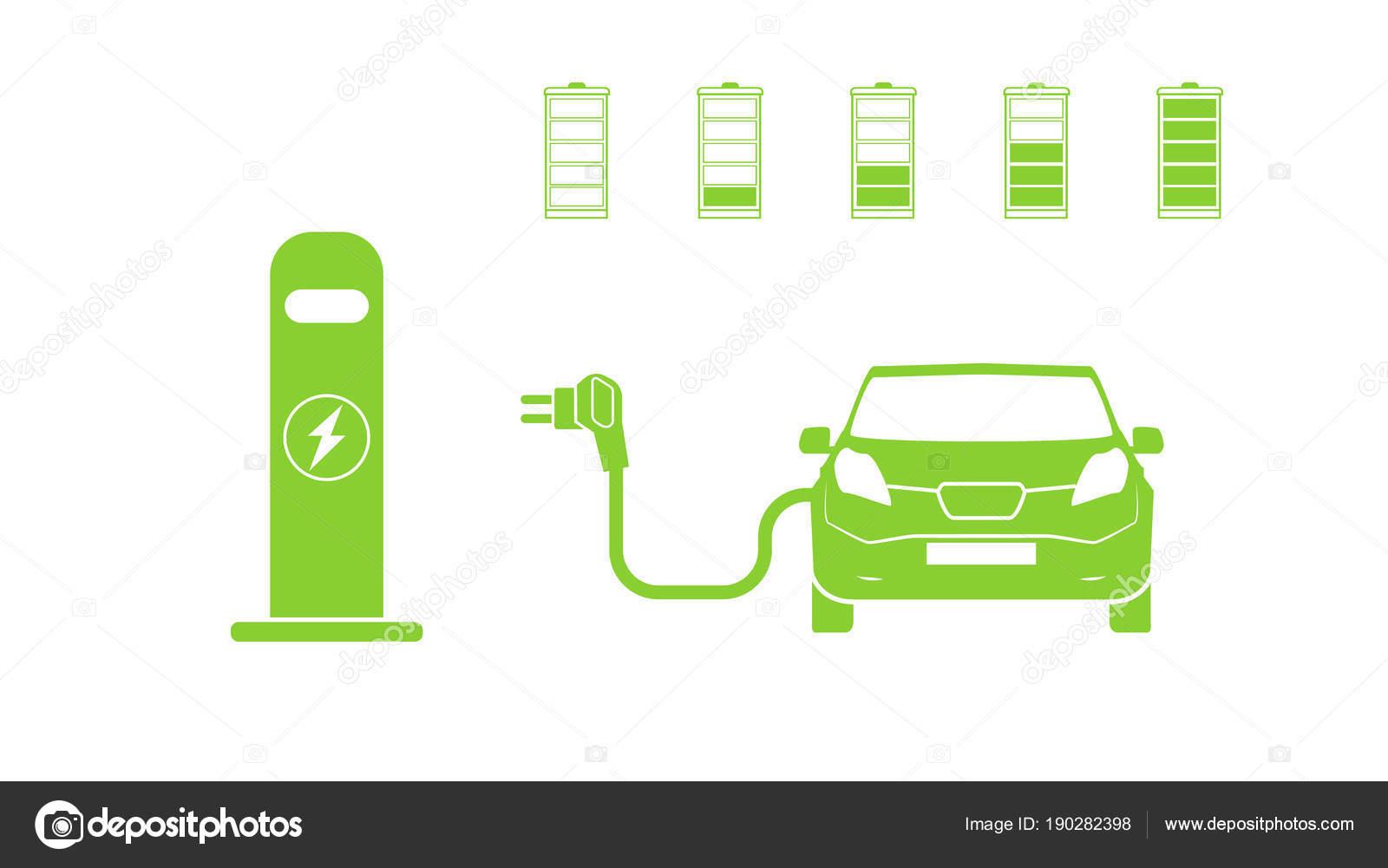 Elektroauto und elektrische Station Ladesymbol. Elektro-Auto-Symbol ...