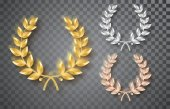 Fotografie Award laurel set isolated on a transparent background. First, second and third place. Winner template. Symbol of victory and achievement. Gold laurel wreath. Realistic vector object isolated