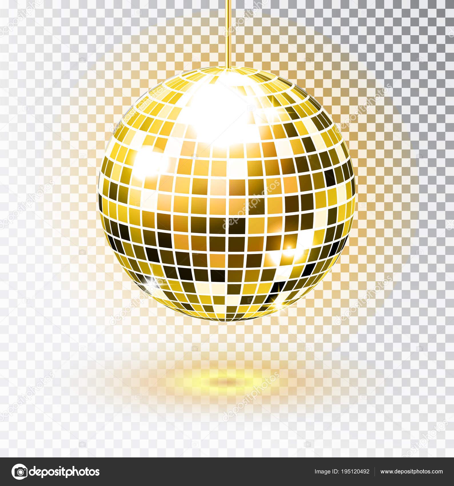 11f2ada3bef1 Bola de discoteca Golden. Ilustración de vector. Aislado. Elemento luz de  parte de Club de noche.