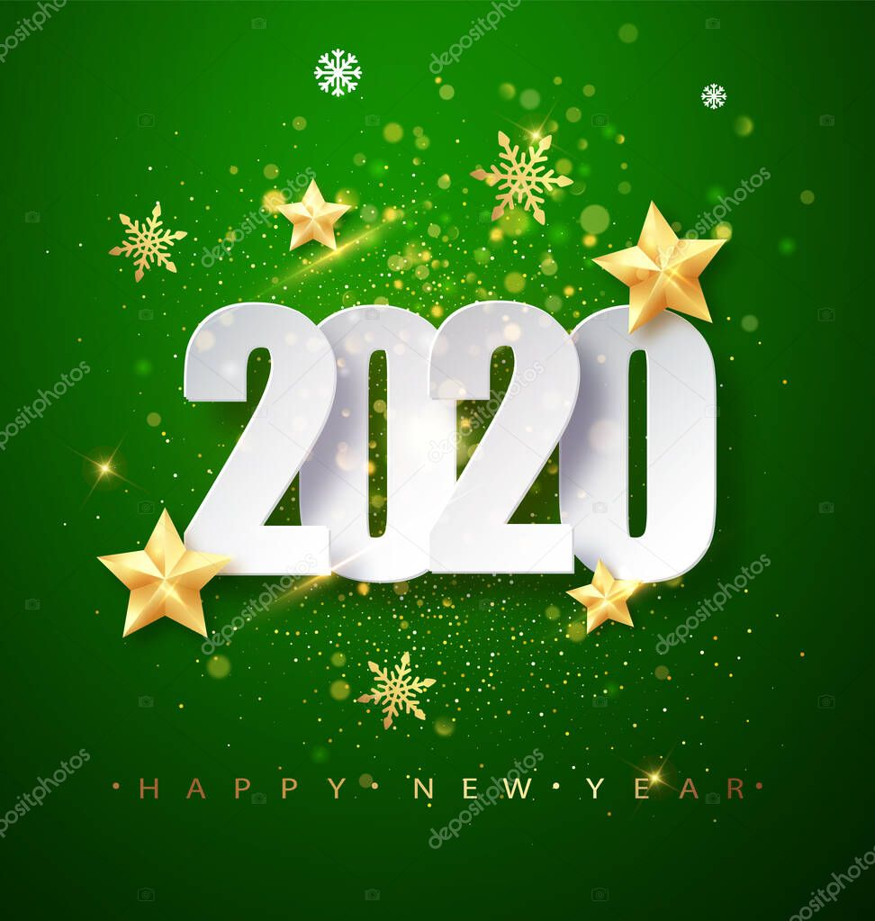 Green Happy New Year 2020 Greeting Card With Confetti