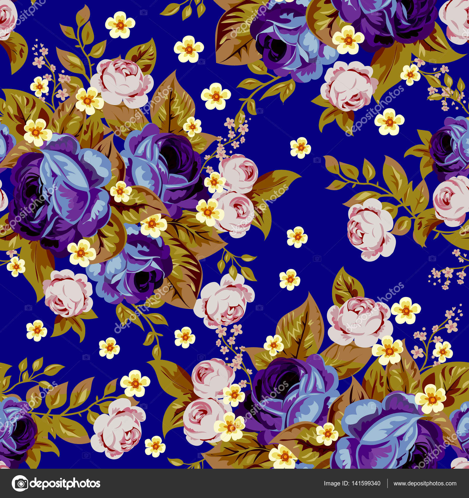 Blue Cabbage Roses And Small White Flowers Seamless Pattern 3