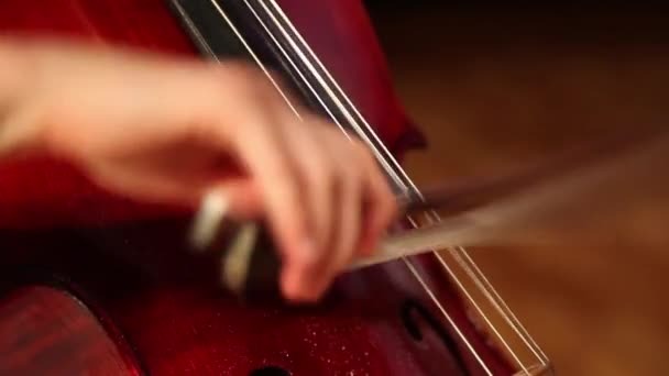 Detailní pohled na violoncello v orchestru