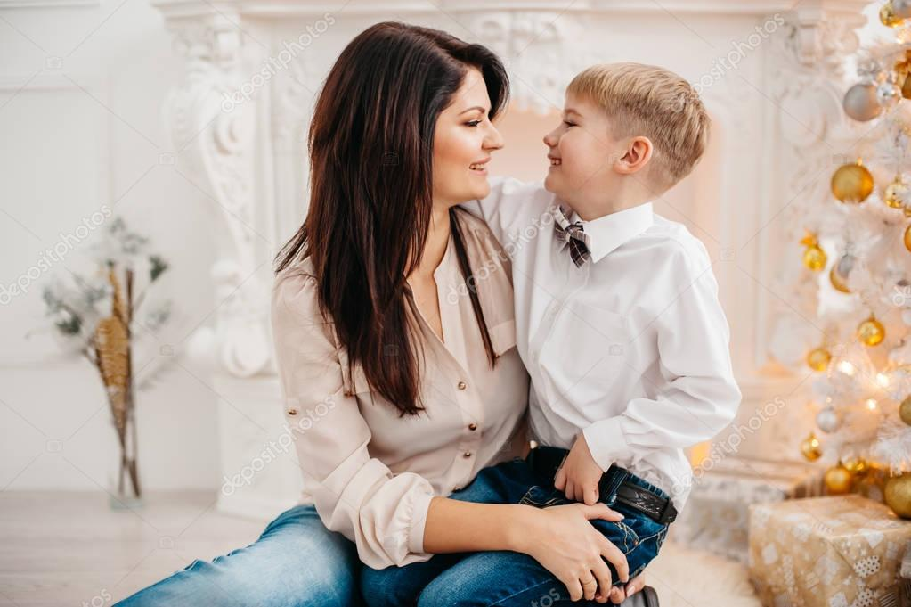Photo Mom And Son Christmas Ideas Mother And Son In The Studio Christmas Stock Photo C Ielanum Yandex Ru 129072312