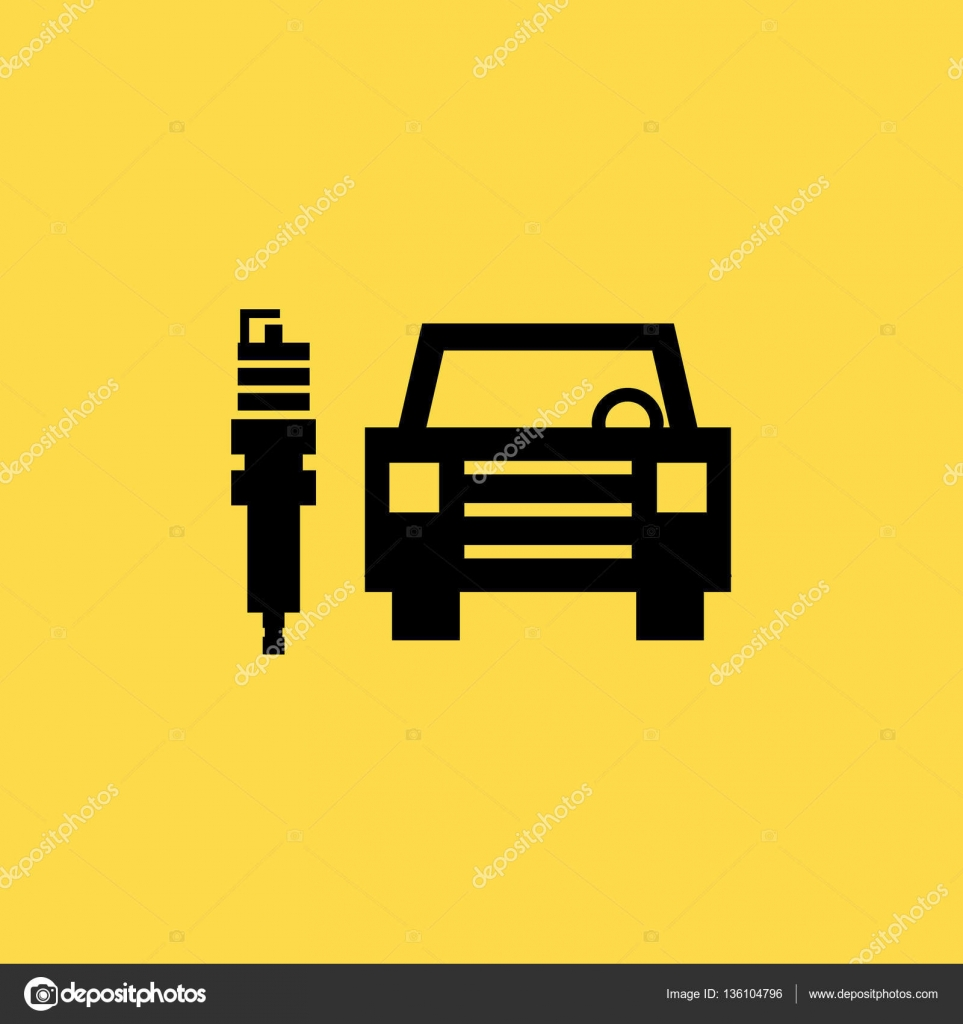Car With Spark Plug Icon Illustration Isolated Vector Sign Symbol