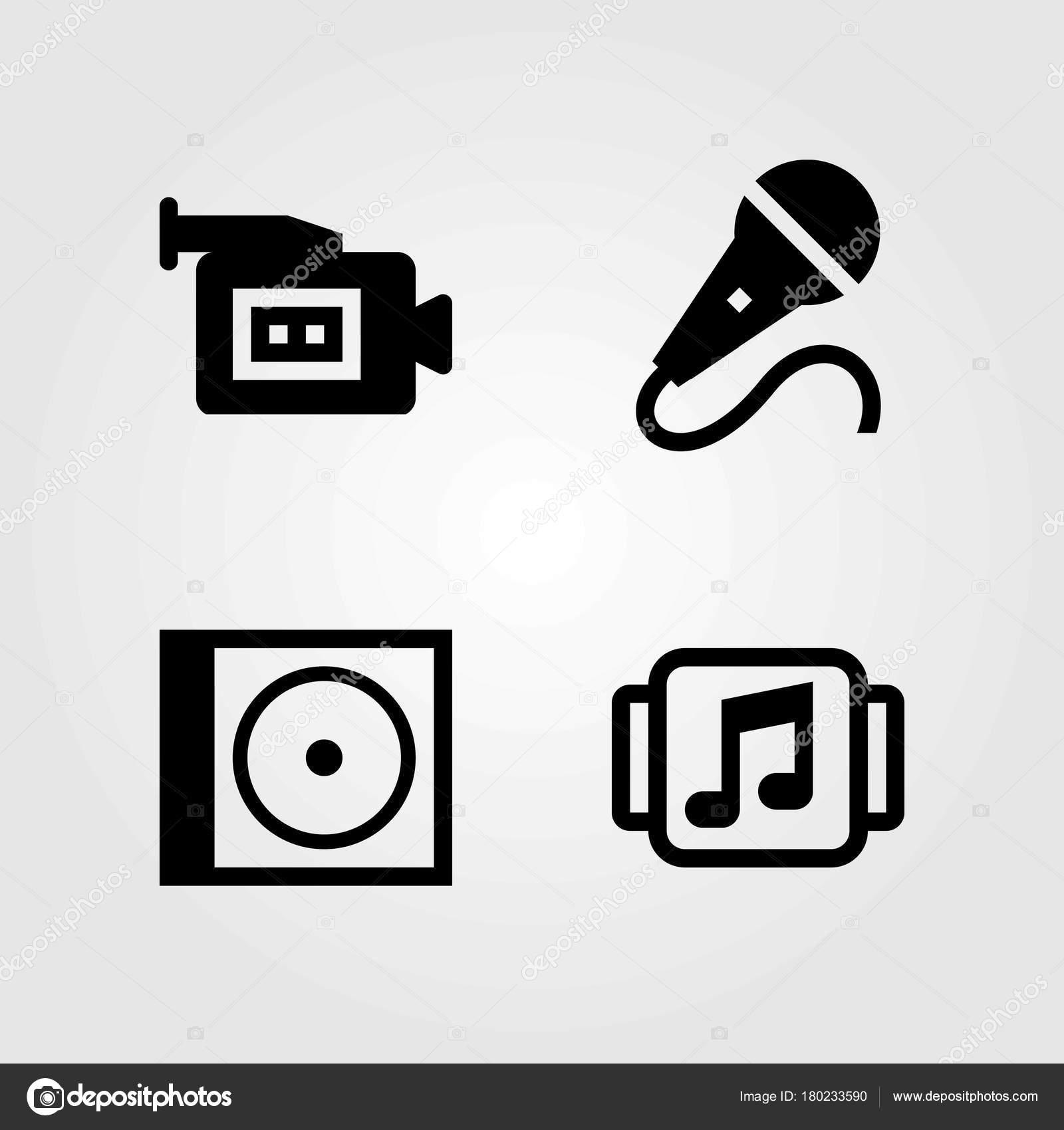 Multimedia vector icons set. music player, mic and video camera — Stock  Vector © Salamzadeh #180233590