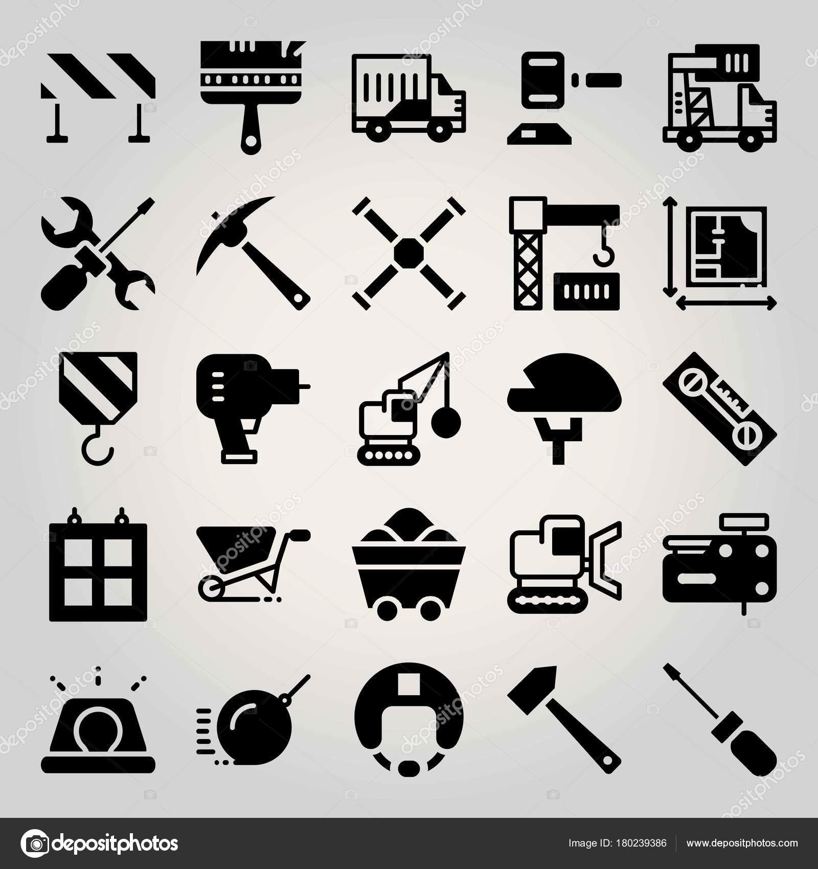 Bau-Vektor-Icon-Set. Kohle, Schubkarre, Hammer und Abbruch ...