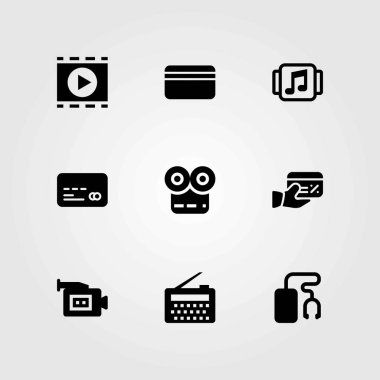 Technology vector icons set. credit card, video camera and music player