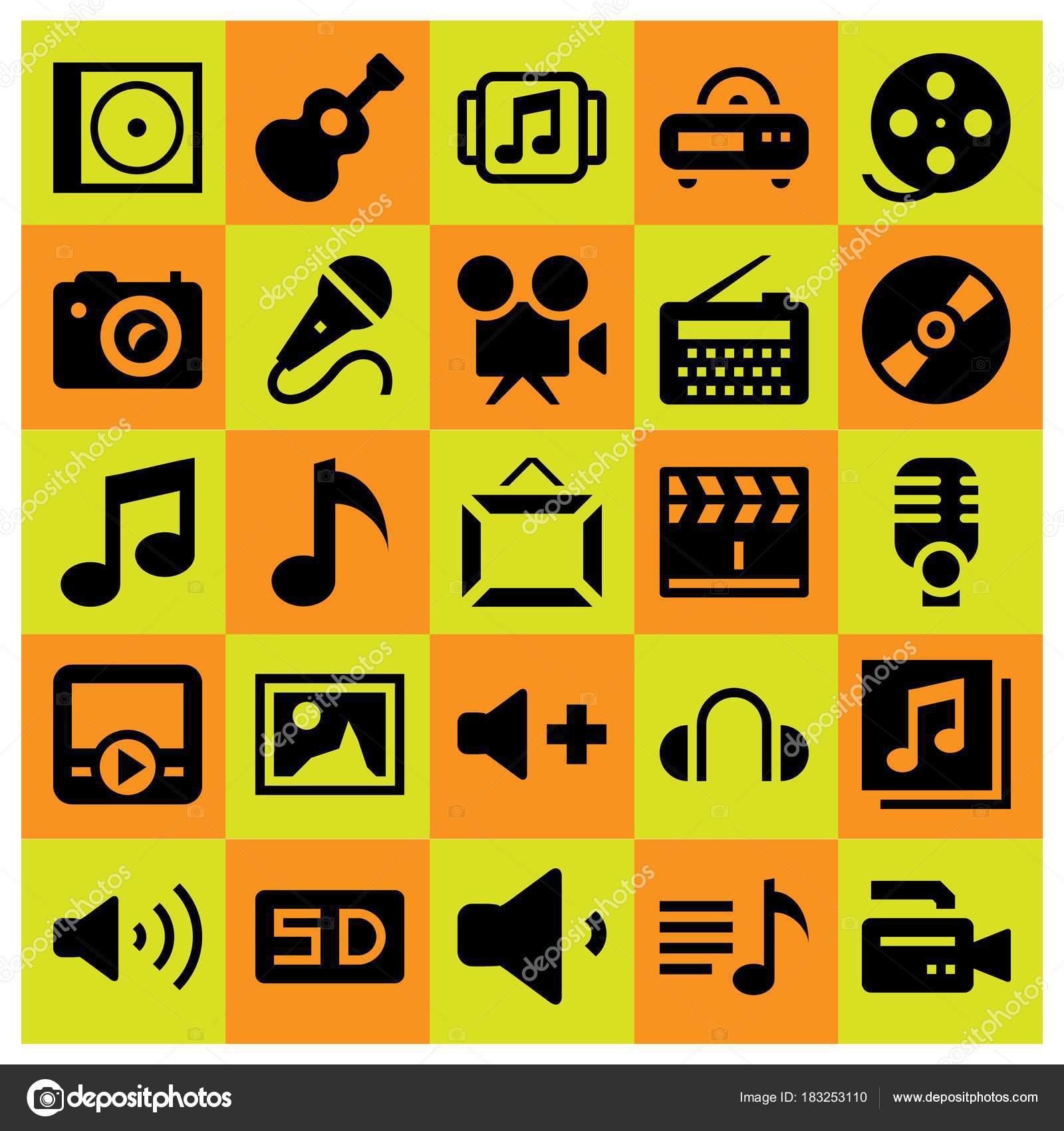 Icono multimedia sistema vector. radio, Claqueta, marco y tarjeta sd ...