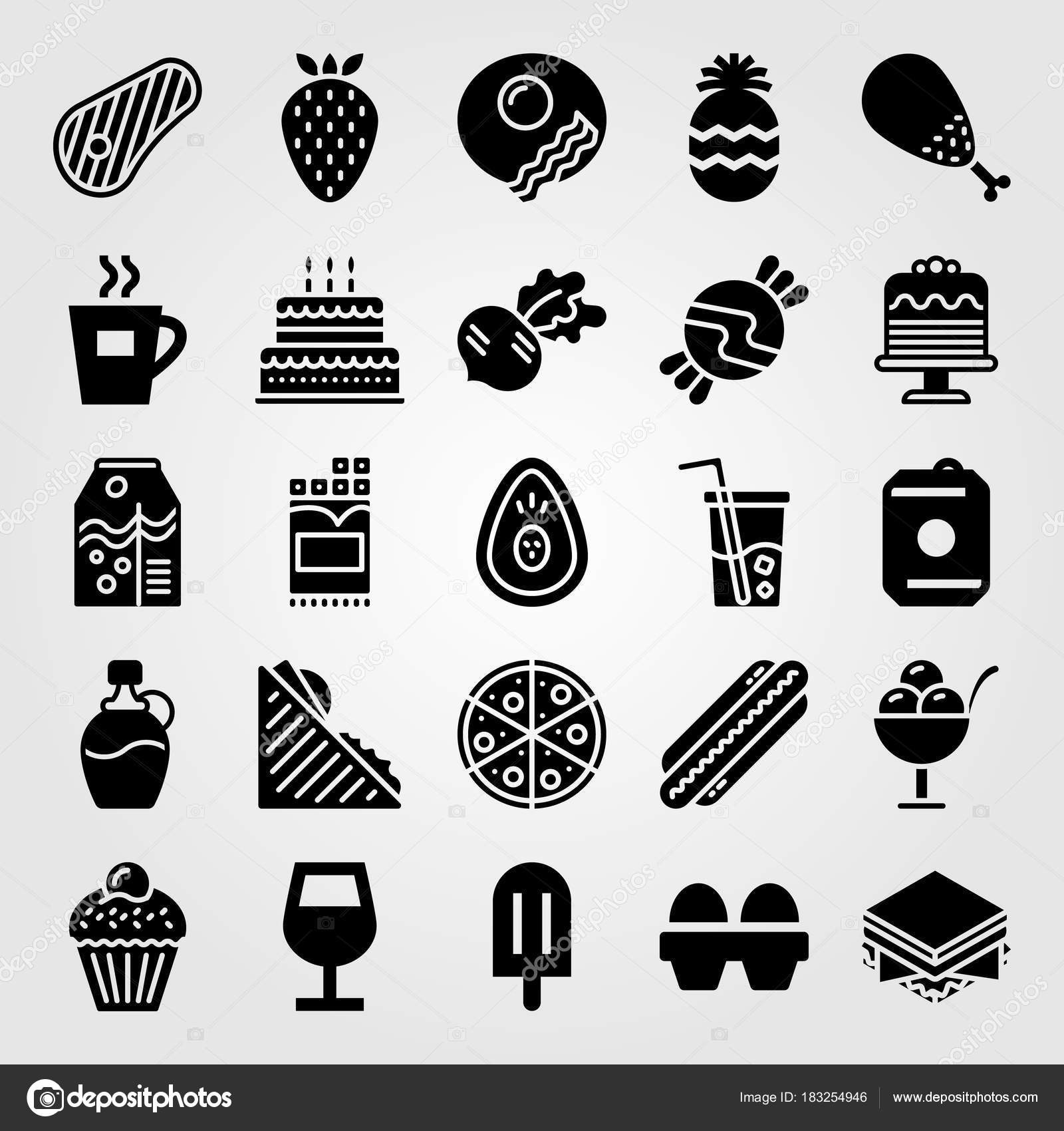 Food And Drinks Vector Icon Set Birthday Cake Coffee Cup Juice Chicken
