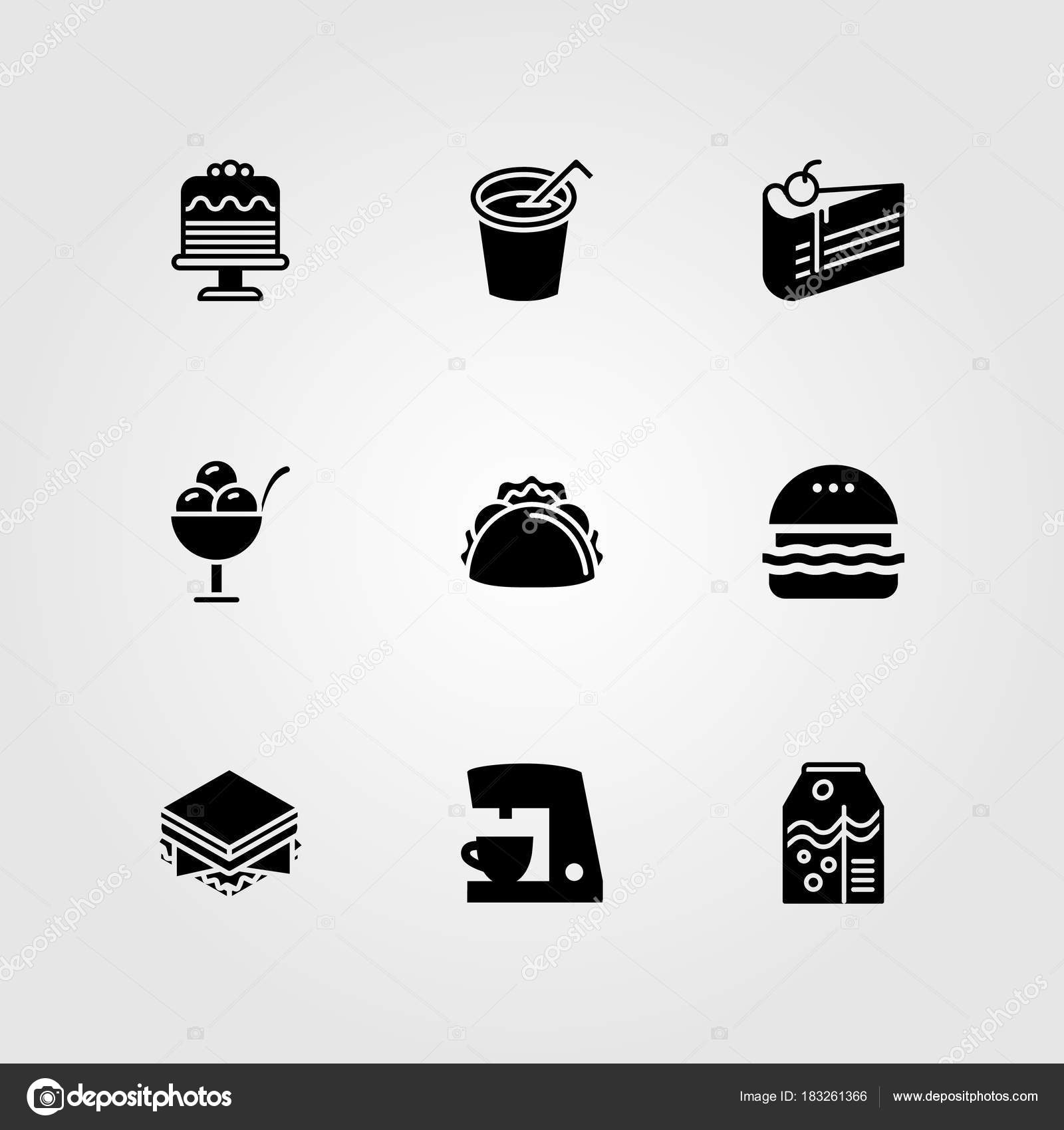 Food And Drinks Vector Icon Set. Soft Drink, Taco, Cake