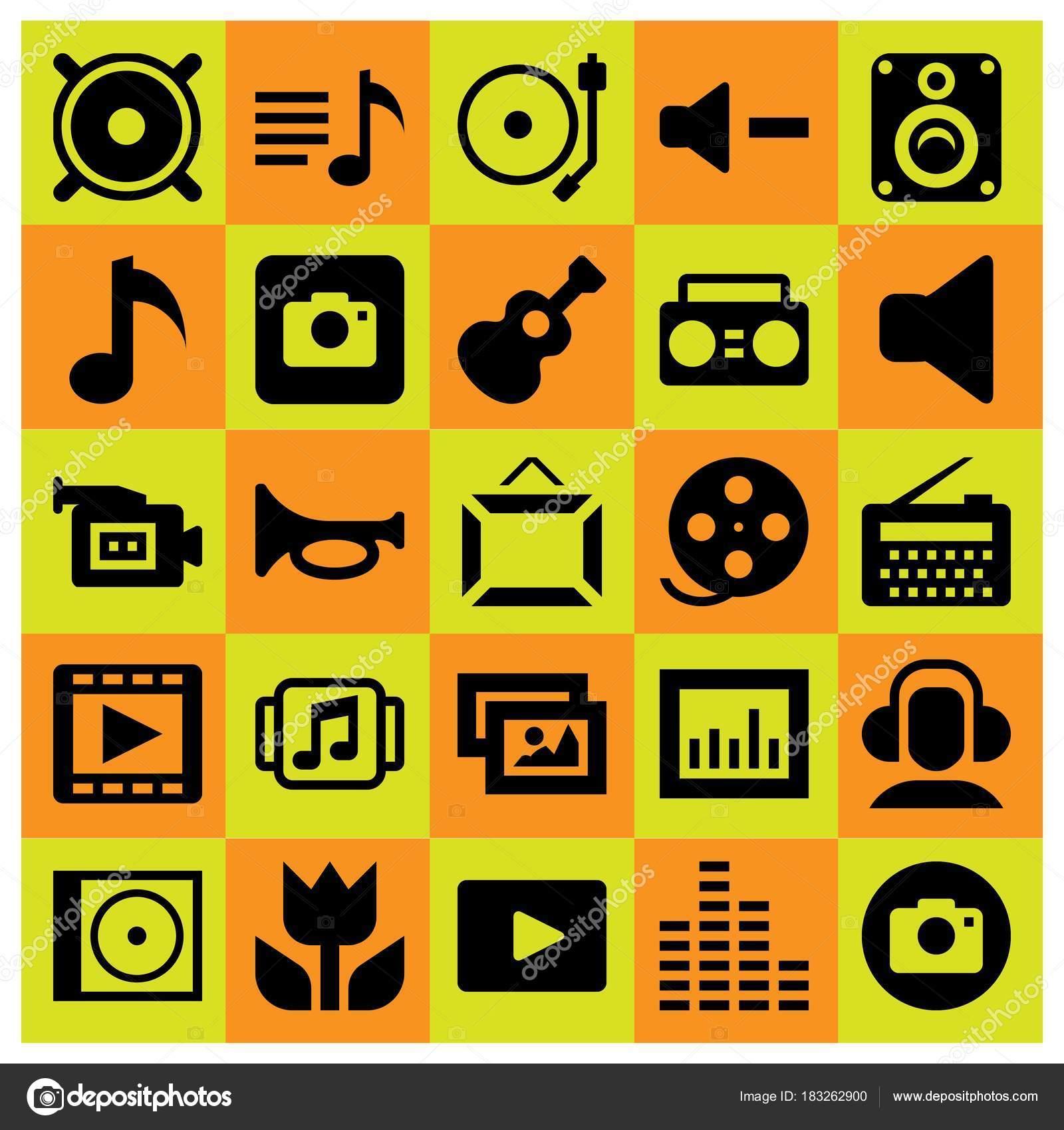 Icono multimedia sistema vector. cámara de vídeo, reproductor de ...