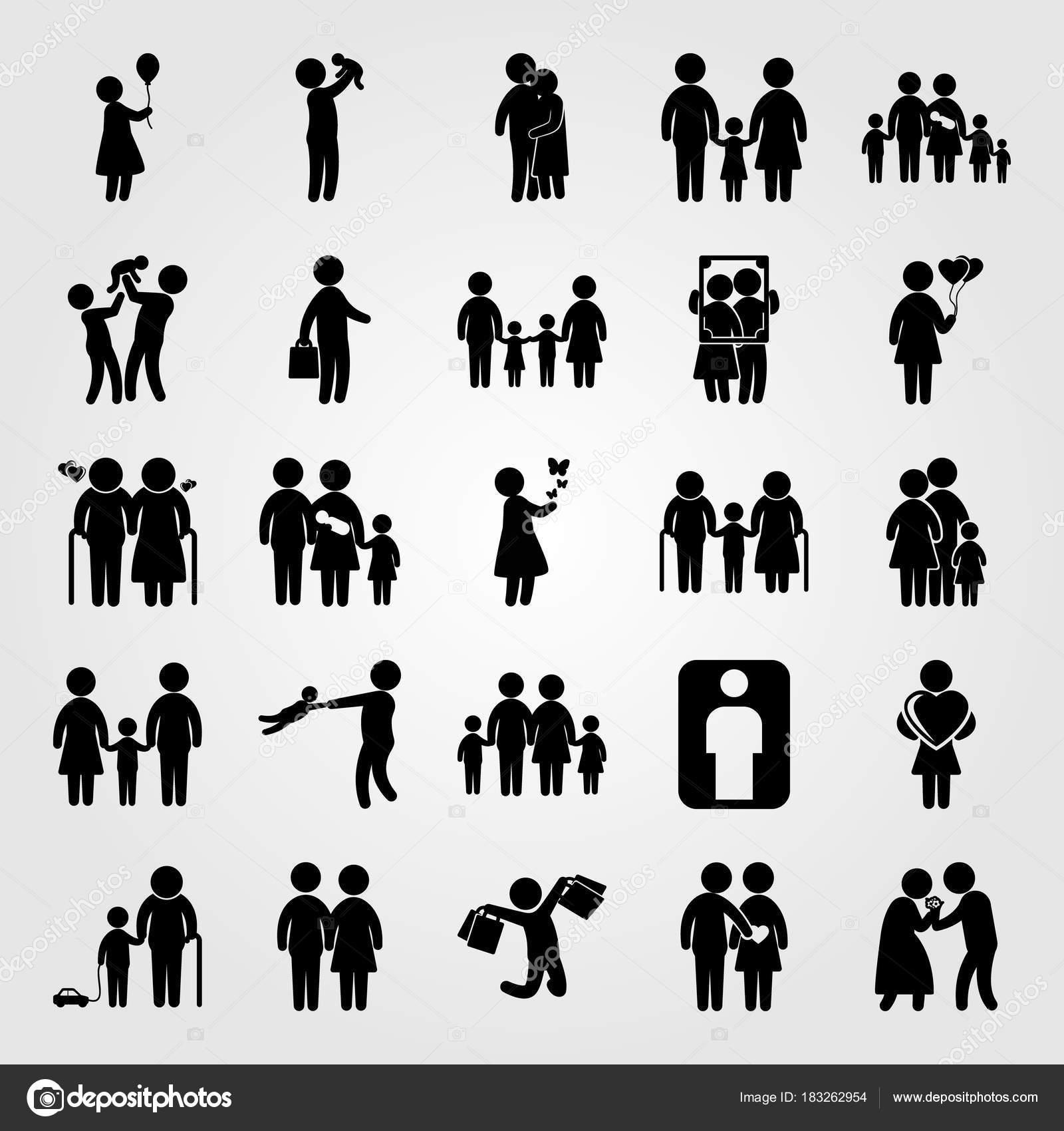 Mens pictogrammenset vector. vader met baby, frame, papa en ...