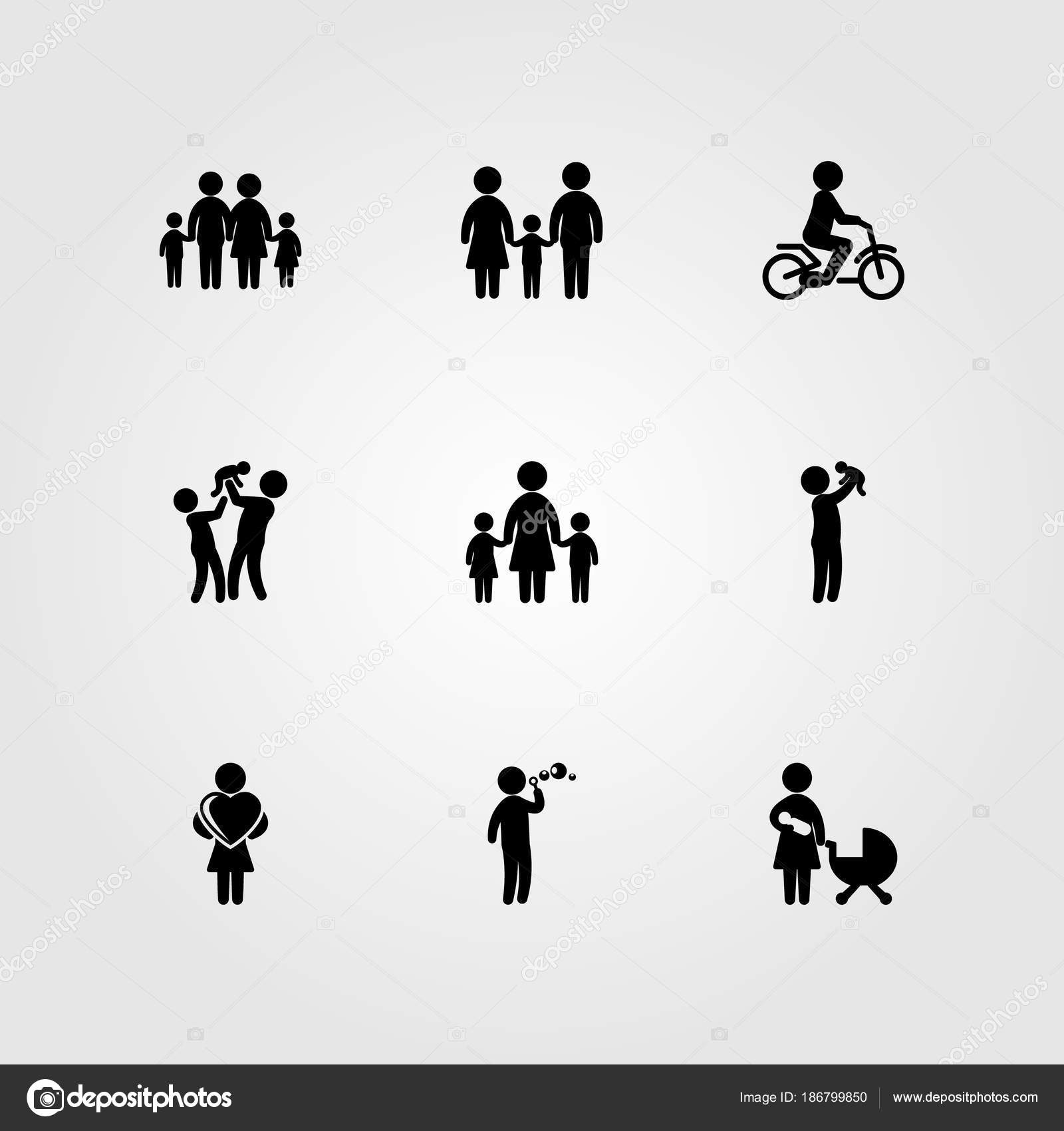 Humans Icon Set Vector Mom Mother Child Playing And Mother With