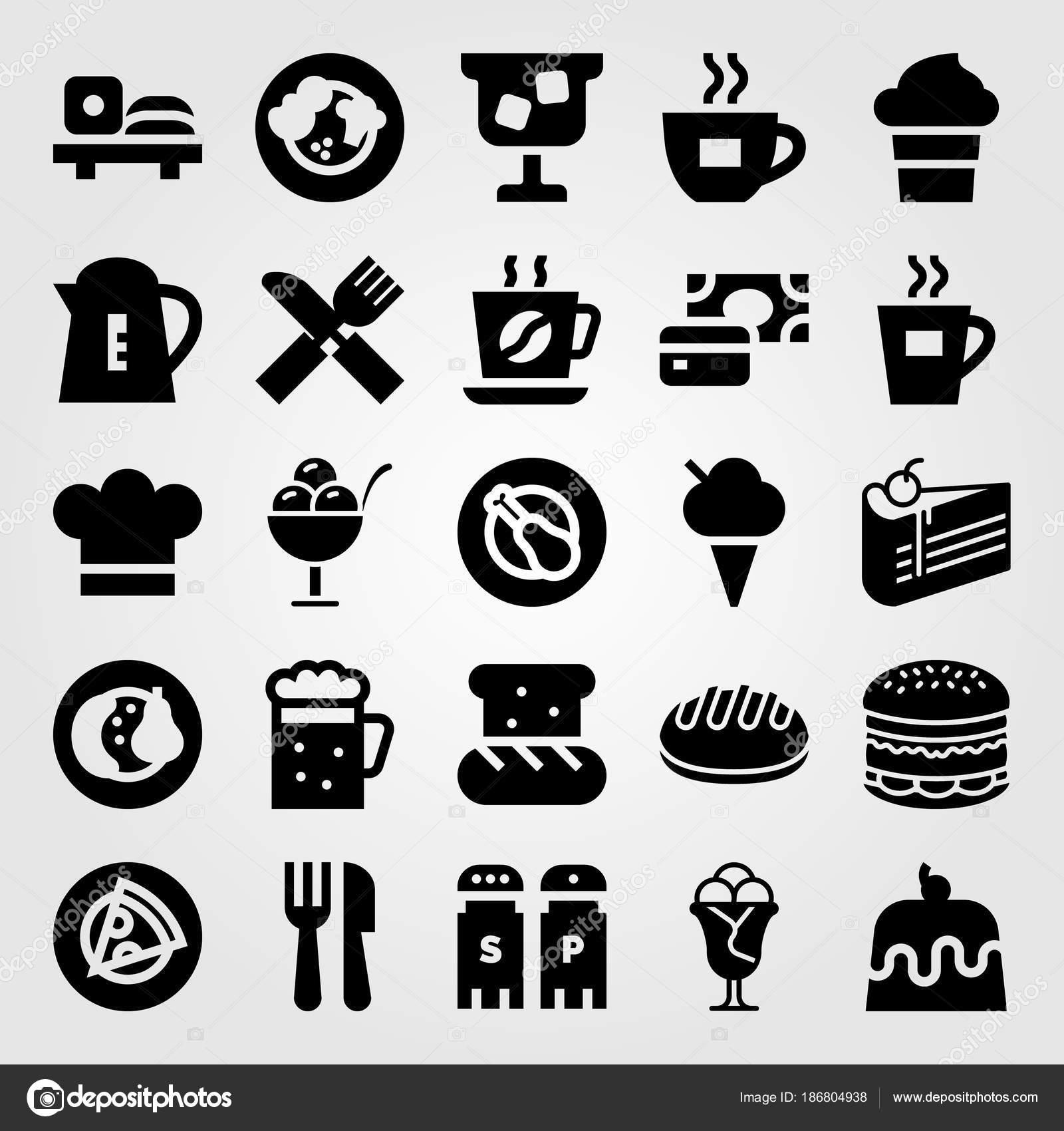 Restaurant Vektor Icon Set Stuck Kuchen Brot Kaffee Und Fruchte