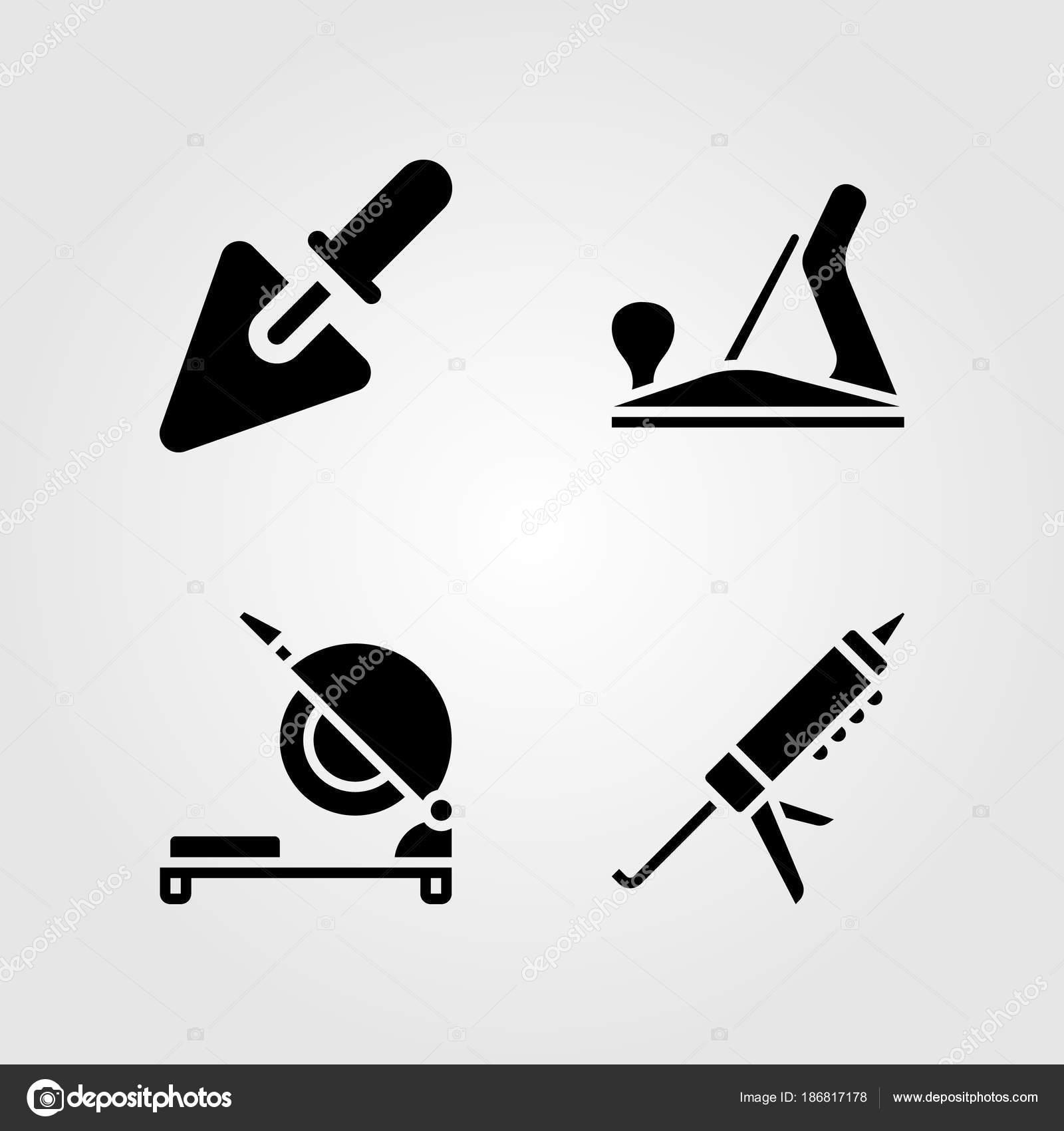 Tools Icons Set Vector Illustration Sealant Gun Chop Saw Wood