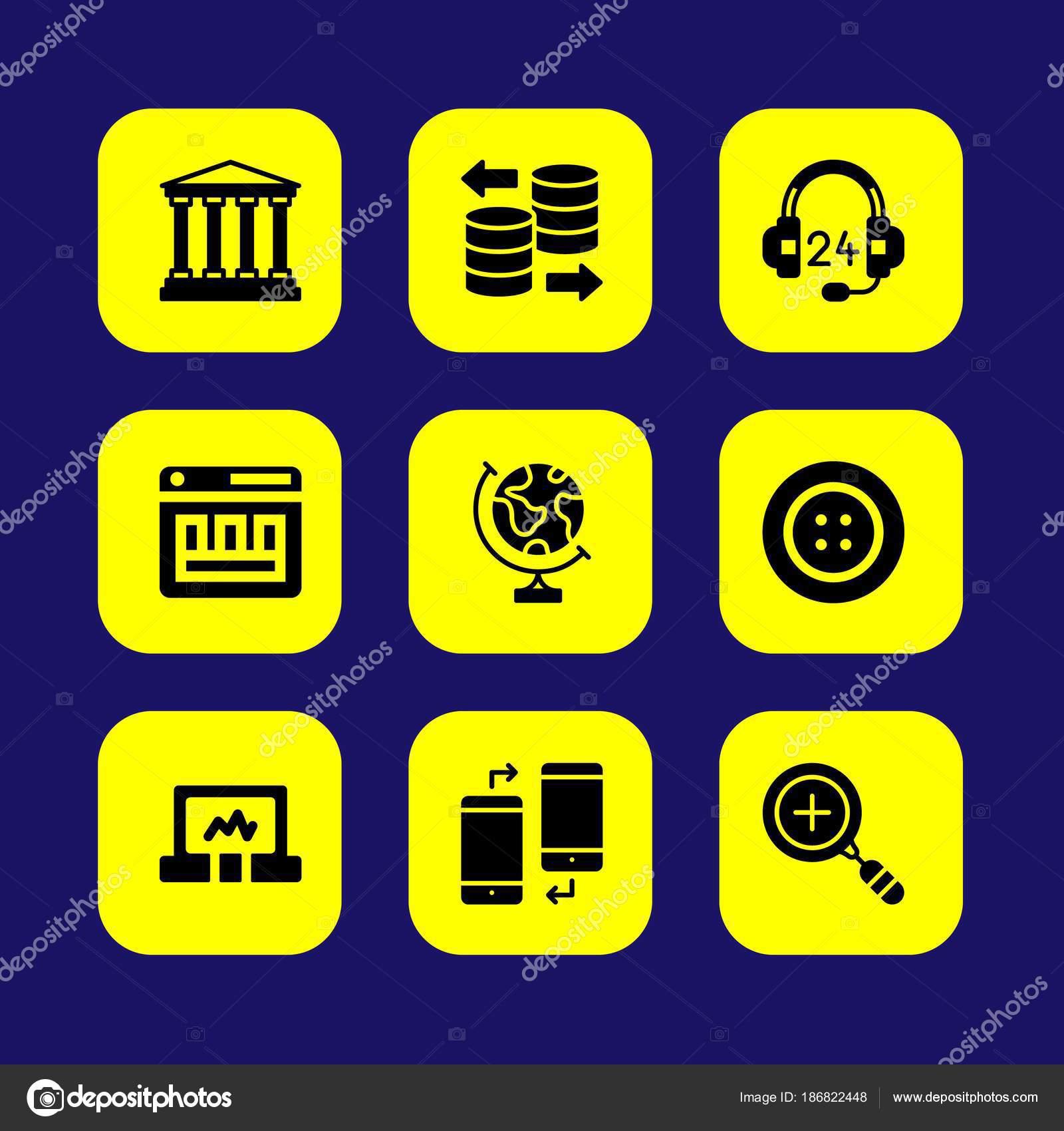 Fundamentos vector conjunto de ícones. banco, banco de dados, botão on
