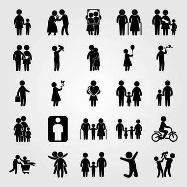 Humans icon set vector. business, childen, baby girl and couple in love