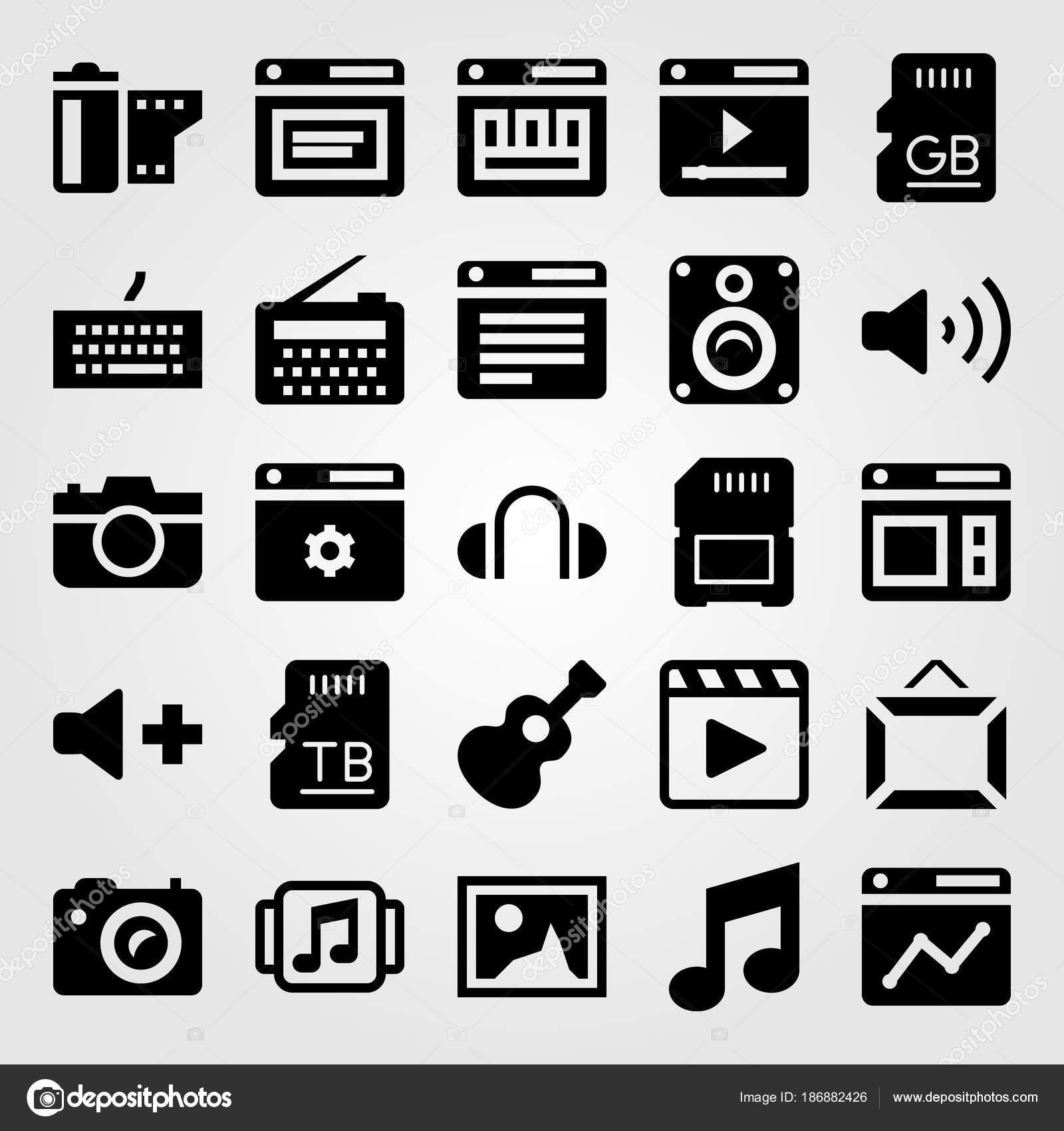 Conjunto de iconos vectoriales multimedia. volumen, rollo de ...