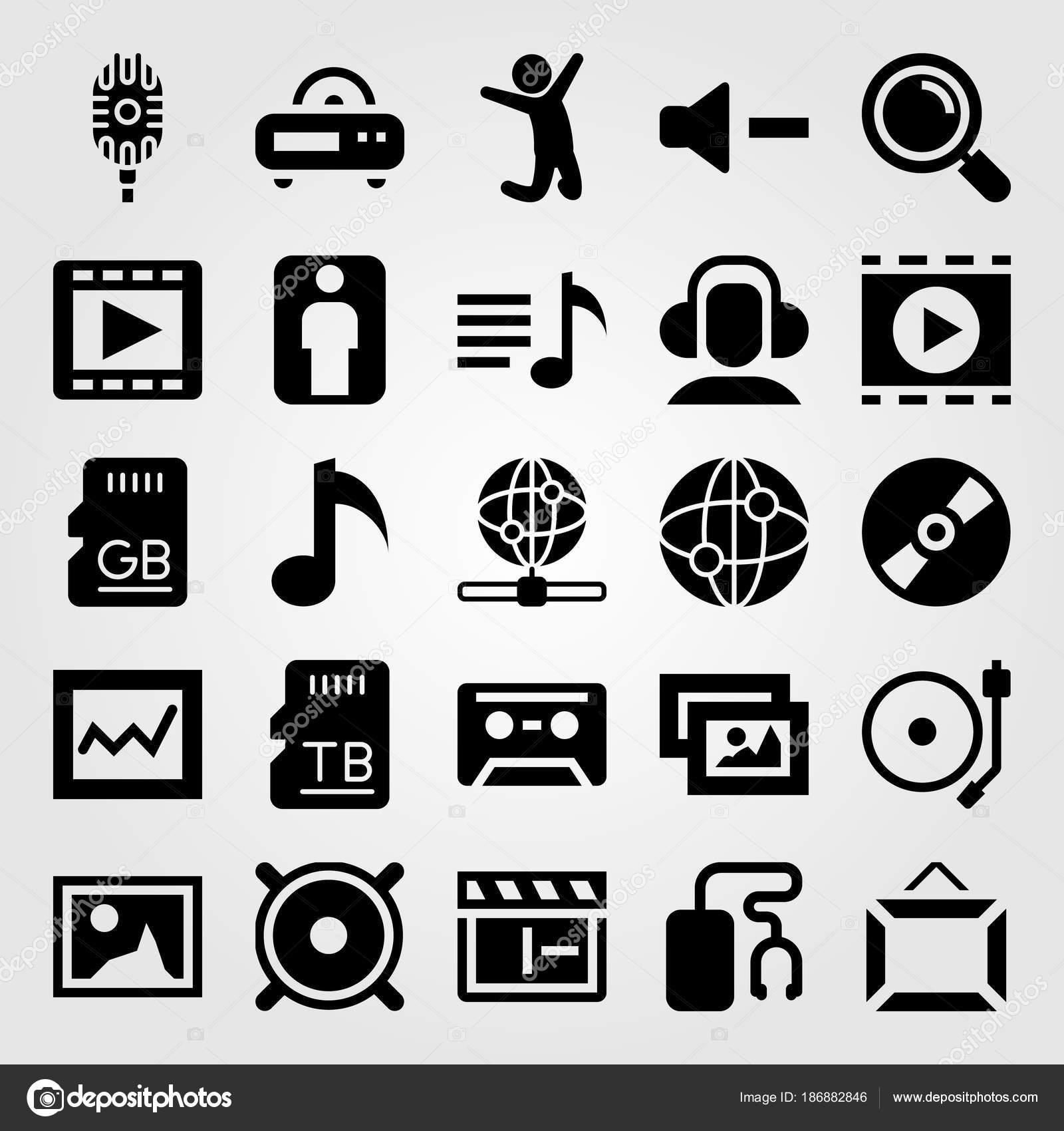 Icono multimedia sistema vector. hombre, disco compacto, tarjeta sd ...