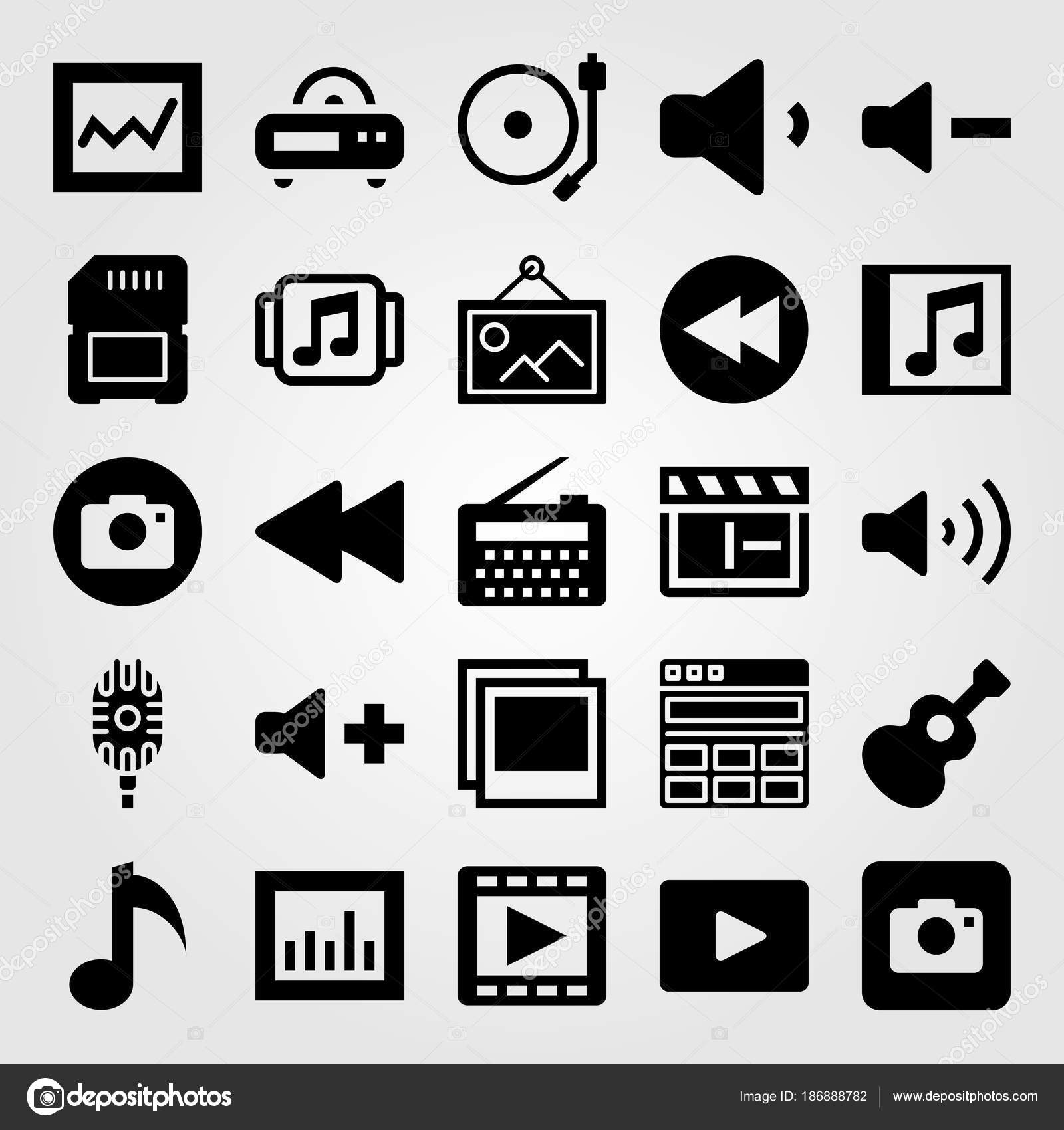 Multimedia icon set vector  musical note, music player, analytics
