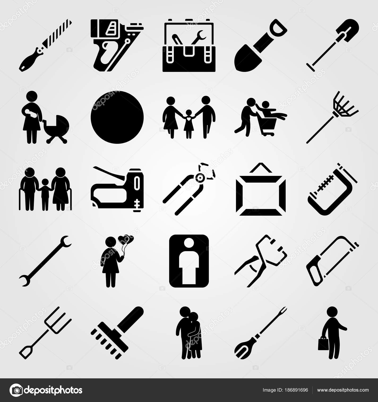 Werkzeuge Symbolsatz Vektor. Geschäftsmann, Tacker, Vater und Kind ...