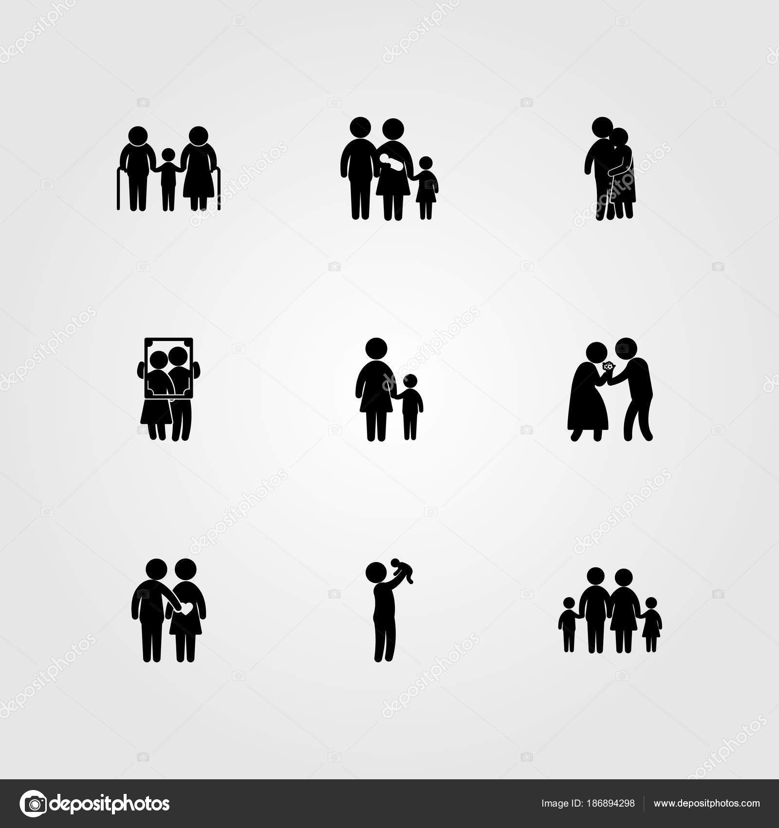 Mens pictogrammenset vector. frame, zoon, opa en oma — Stockvector ...