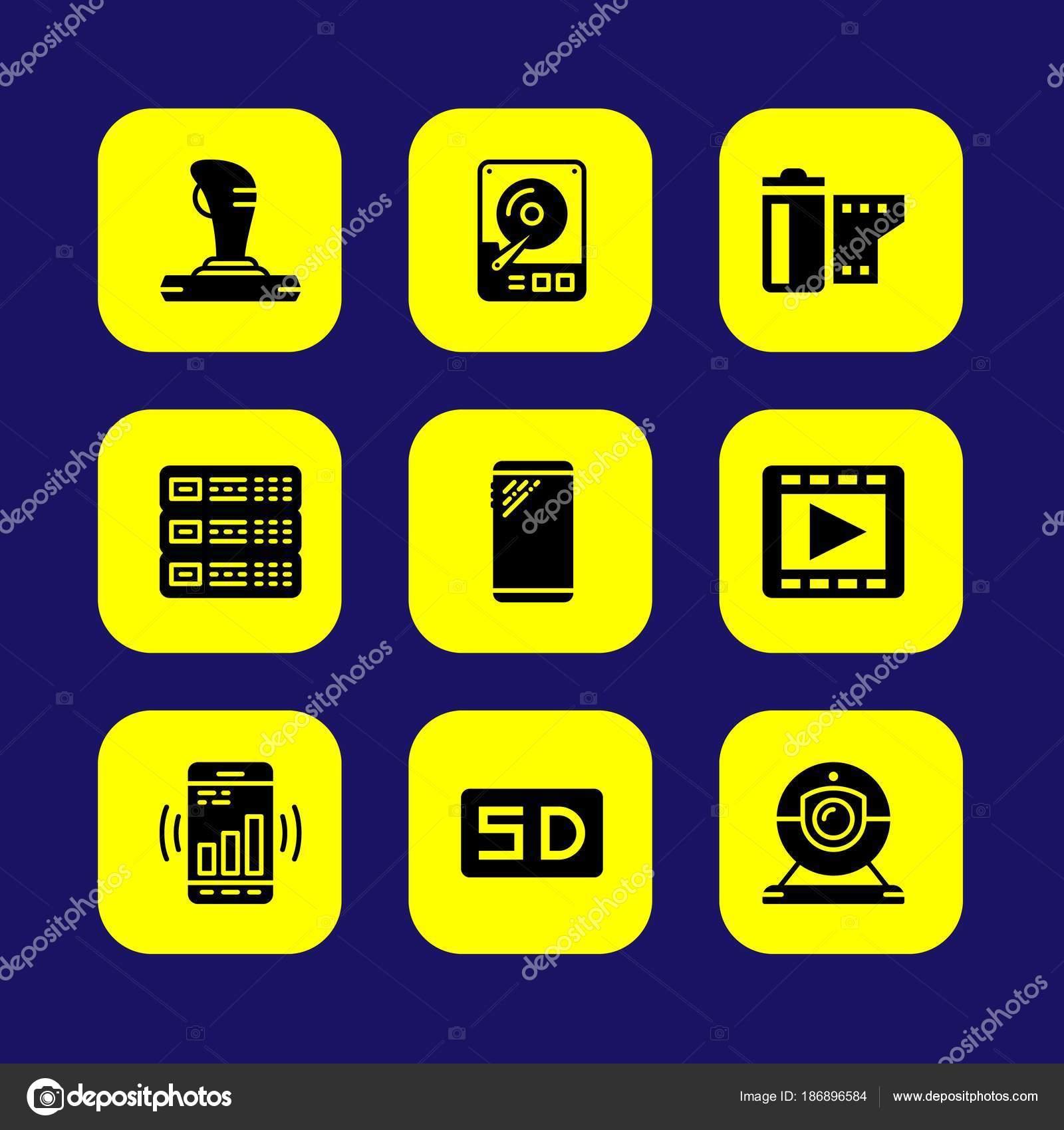 Technology Vector Icon Set Joystick Card Server Smartphone
