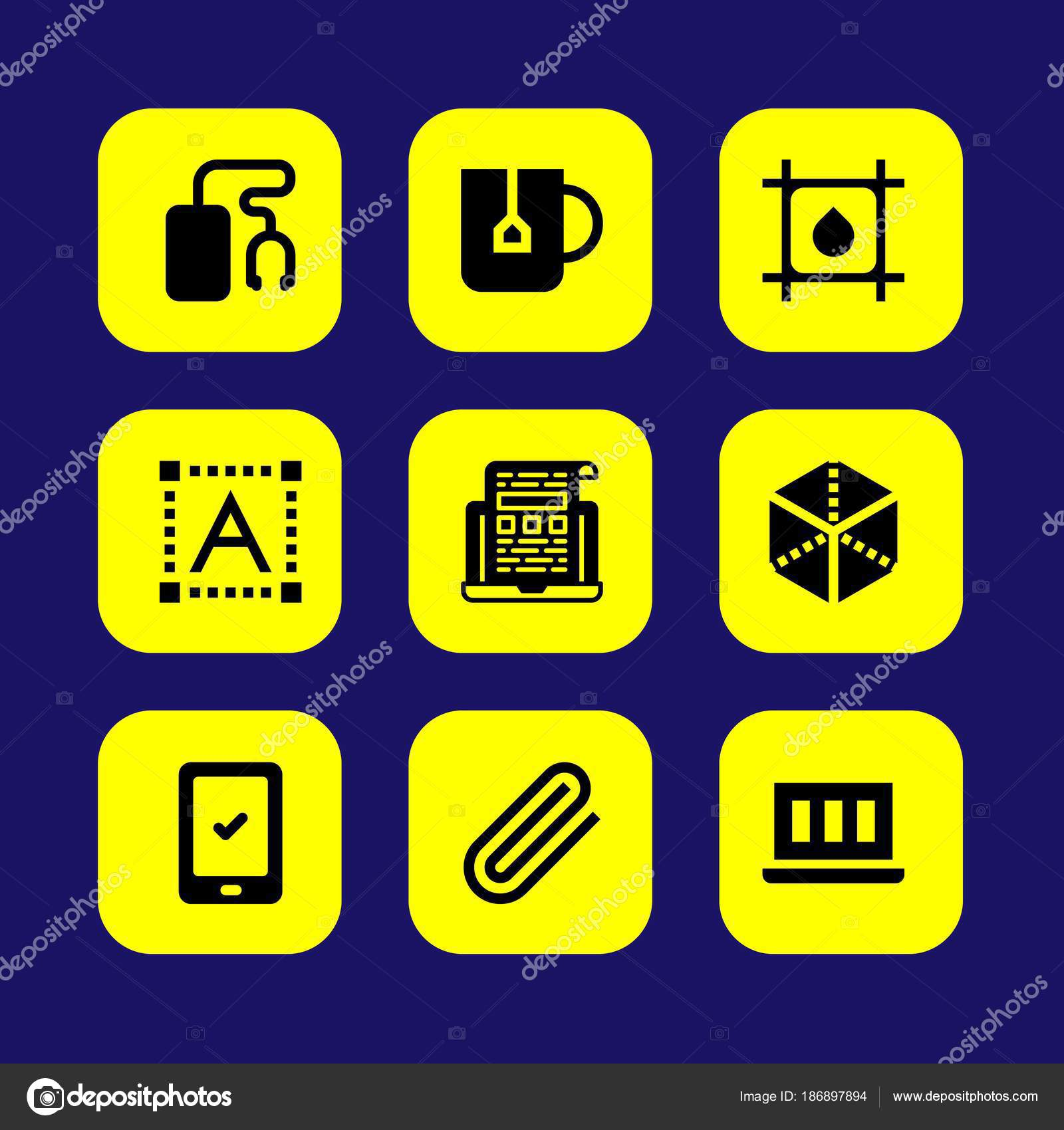 Web Design vector icon set  cube, text editor, music player and
