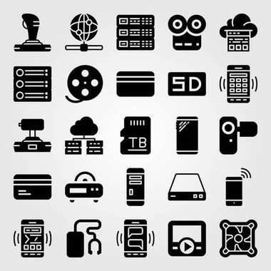 Technology icon set vector. web, sd card, camera and server