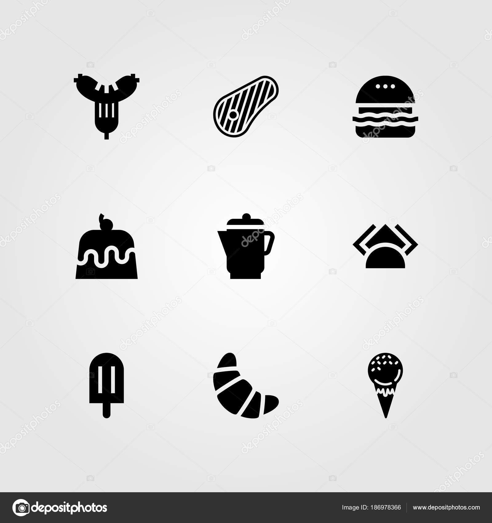 Restaurant Vektor Icon Set Kuchen Wurst Burger Und Servietten