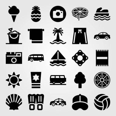 Summertime vector icon set. car, sailboat, van and beach towel